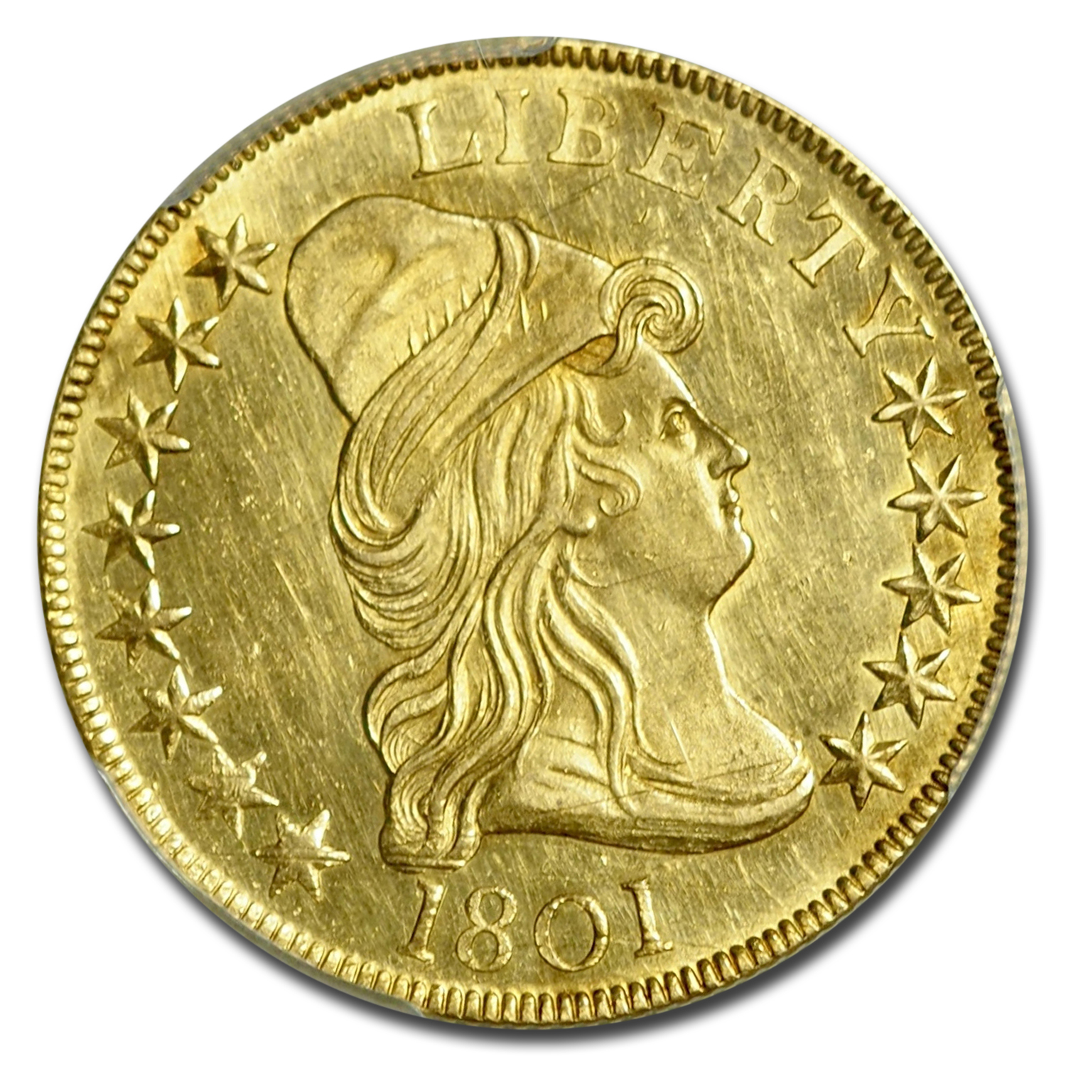 1801 $10 Gold Eagle Capped Bust to Right MS-62 PCGS