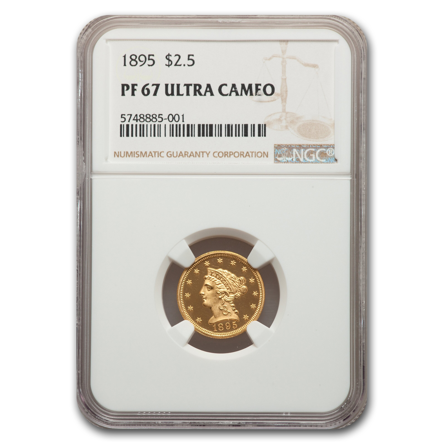 1895 $2.50 Liberty Head Quarter Eagle PF-67 Ultra Cameo NGC