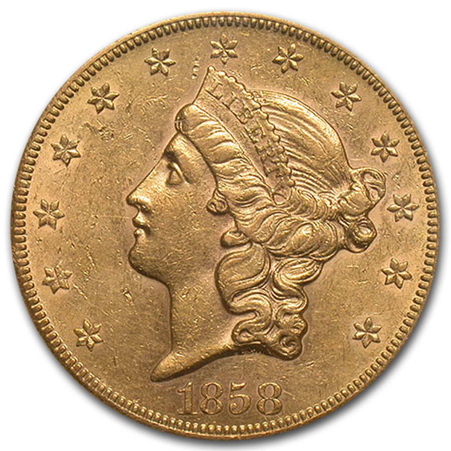 1858-S $20 Gold Liberty AU-58 NGC CAC
