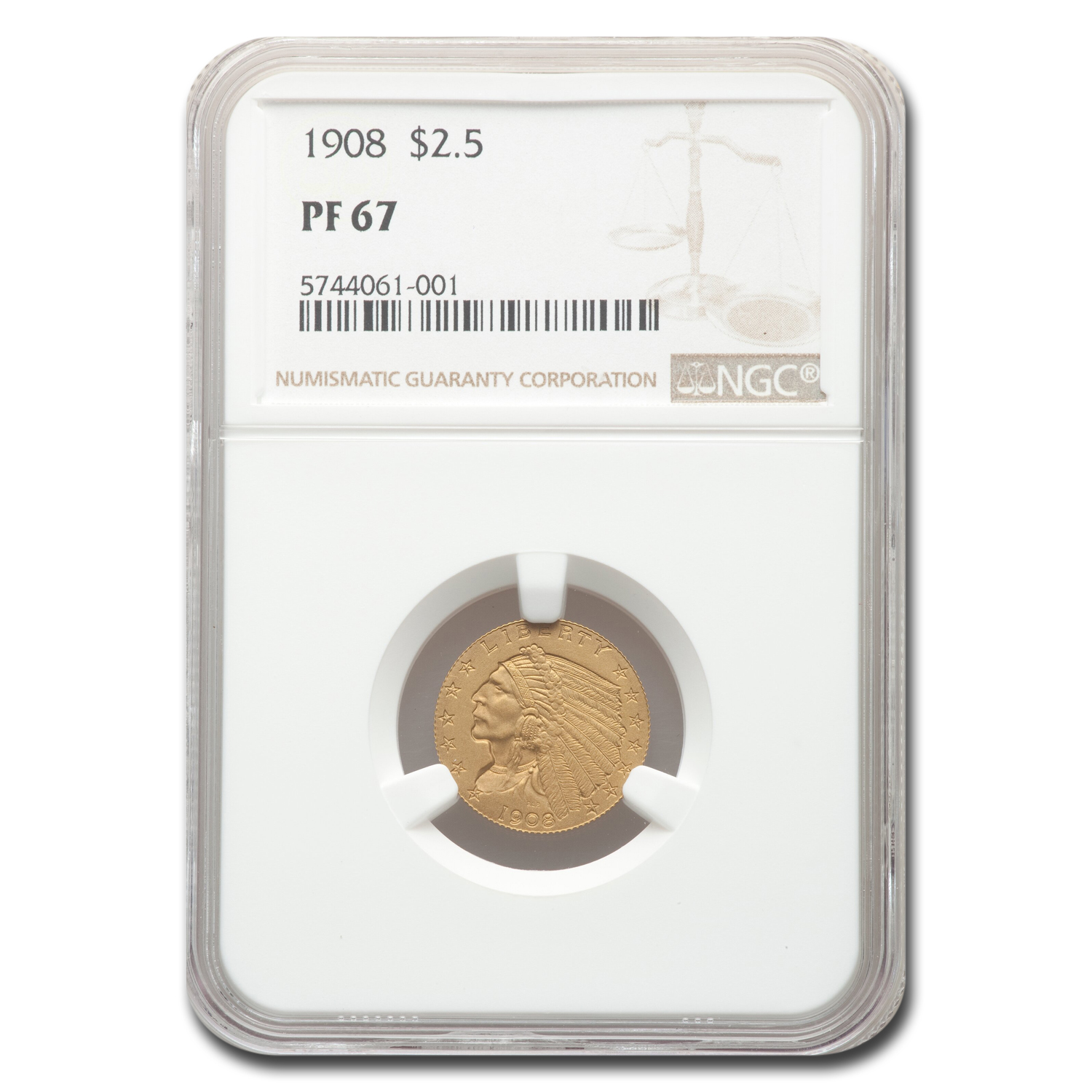 1908 $2.50 Indian Gold Quarter Eagle PF-67 NGC