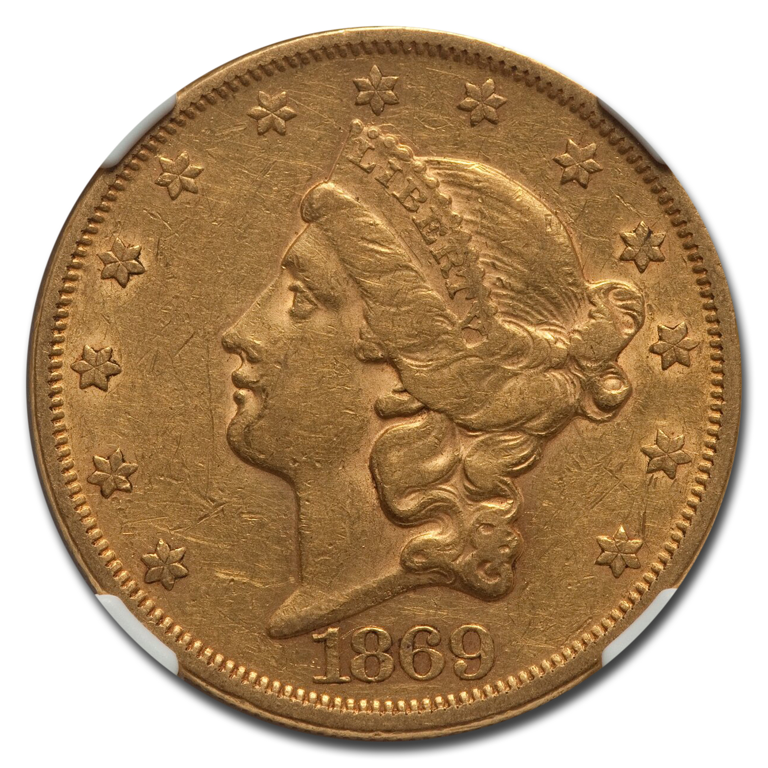 1869 $20 Liberty Gold Double Eagle AU-50 NGC