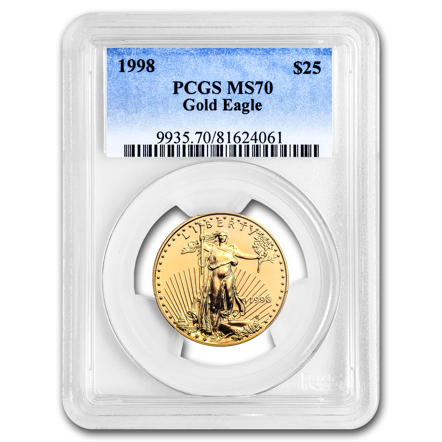 1998 1/2 oz Gold American Eagle MS-70 PCGS (Registry Set)