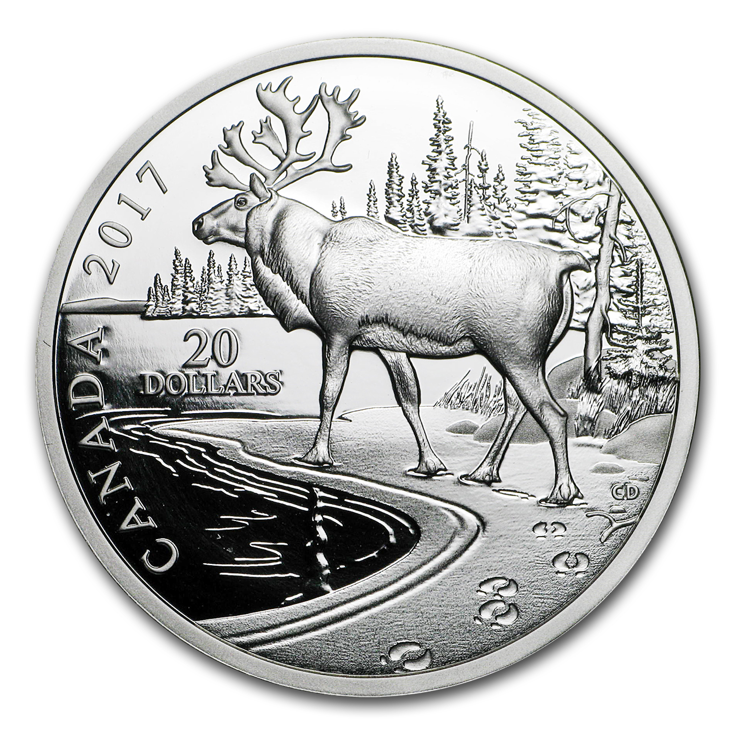 2017 1 oz Silver Proof $20 Nature's Impressions: Woodland Caribou