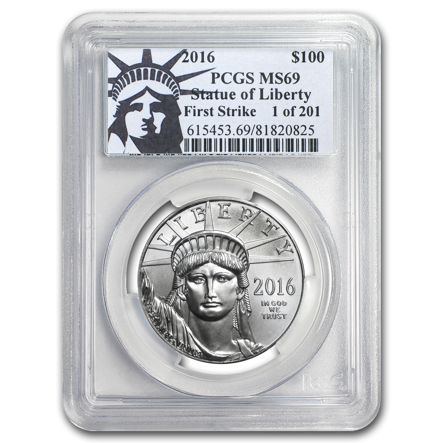 2016 1 oz Platinum American Eagle MS-69 PCGS (FS, 1 of 201)