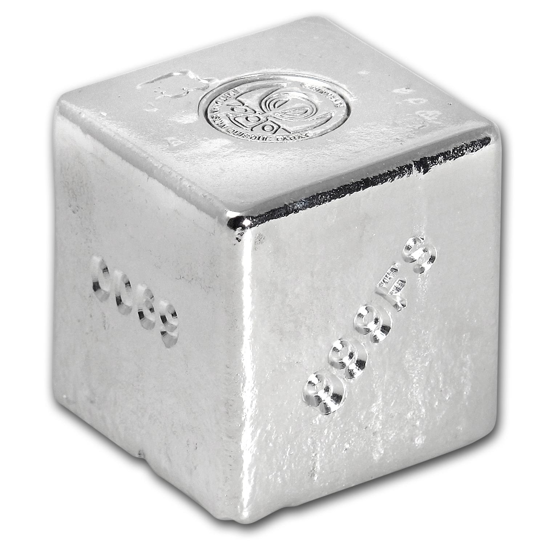 1 Kilo Silver Cube Shinybars Yeager Poured Silver Apmex