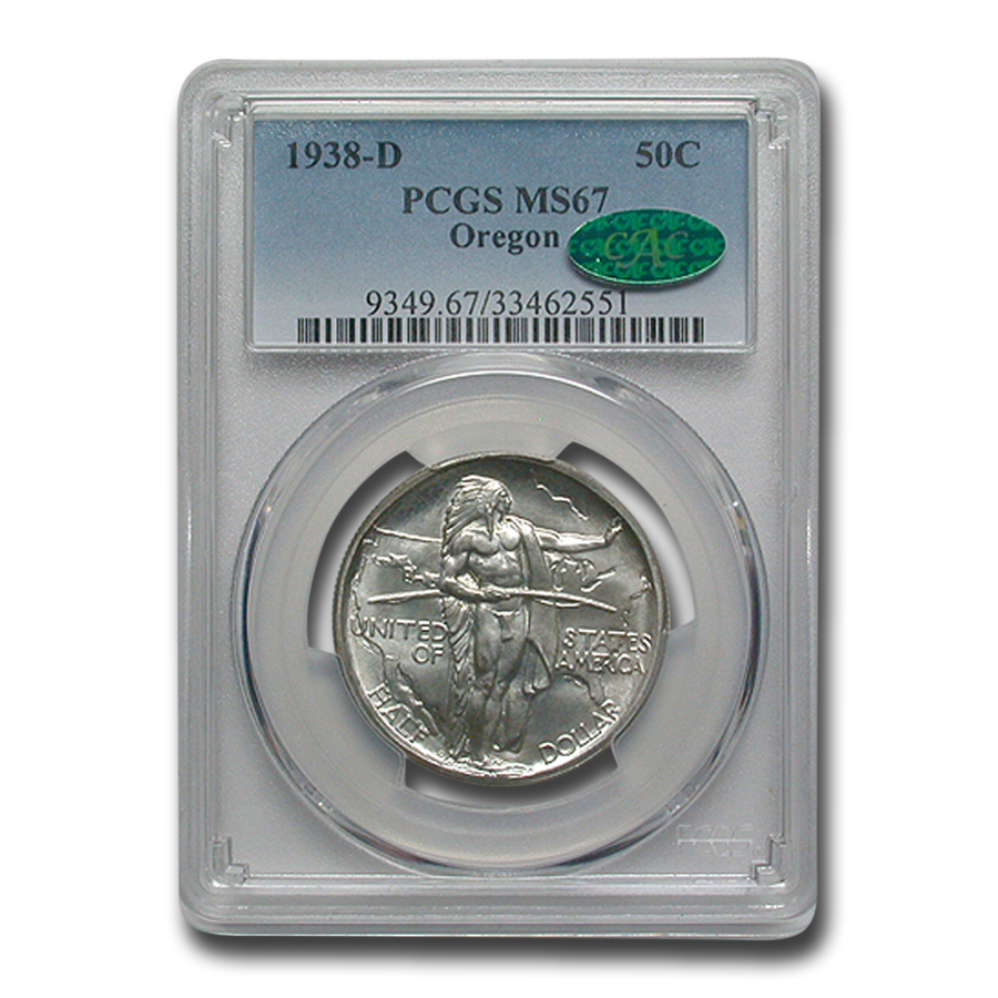 1938-D Oregon Trail Memorial Half Dollar MS-67 PCGS CAC