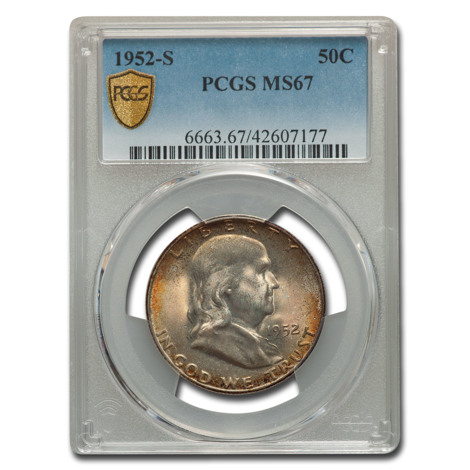 1952-S Franklin Half MS-67 PCGS