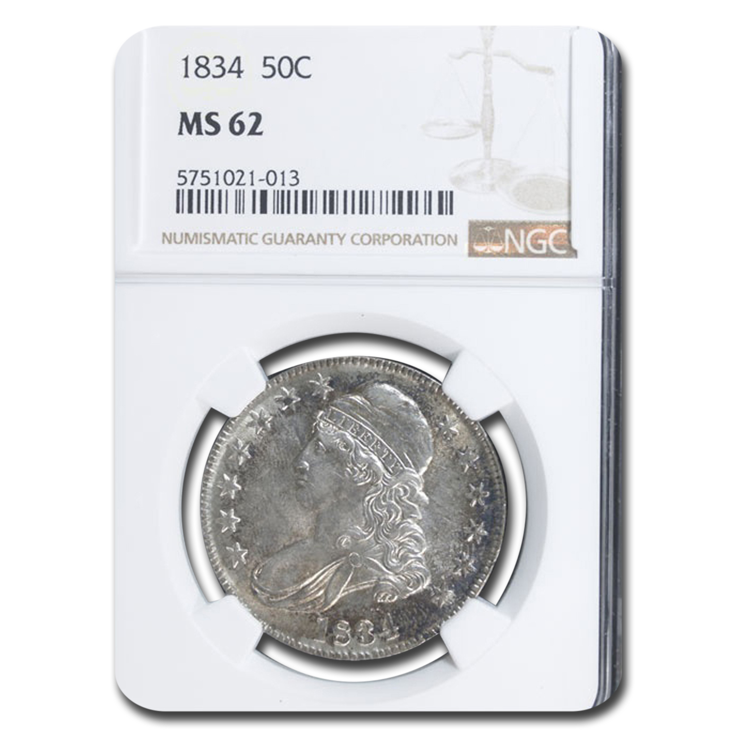 1834 Capped Bust Half Dollar MS-62 NGC