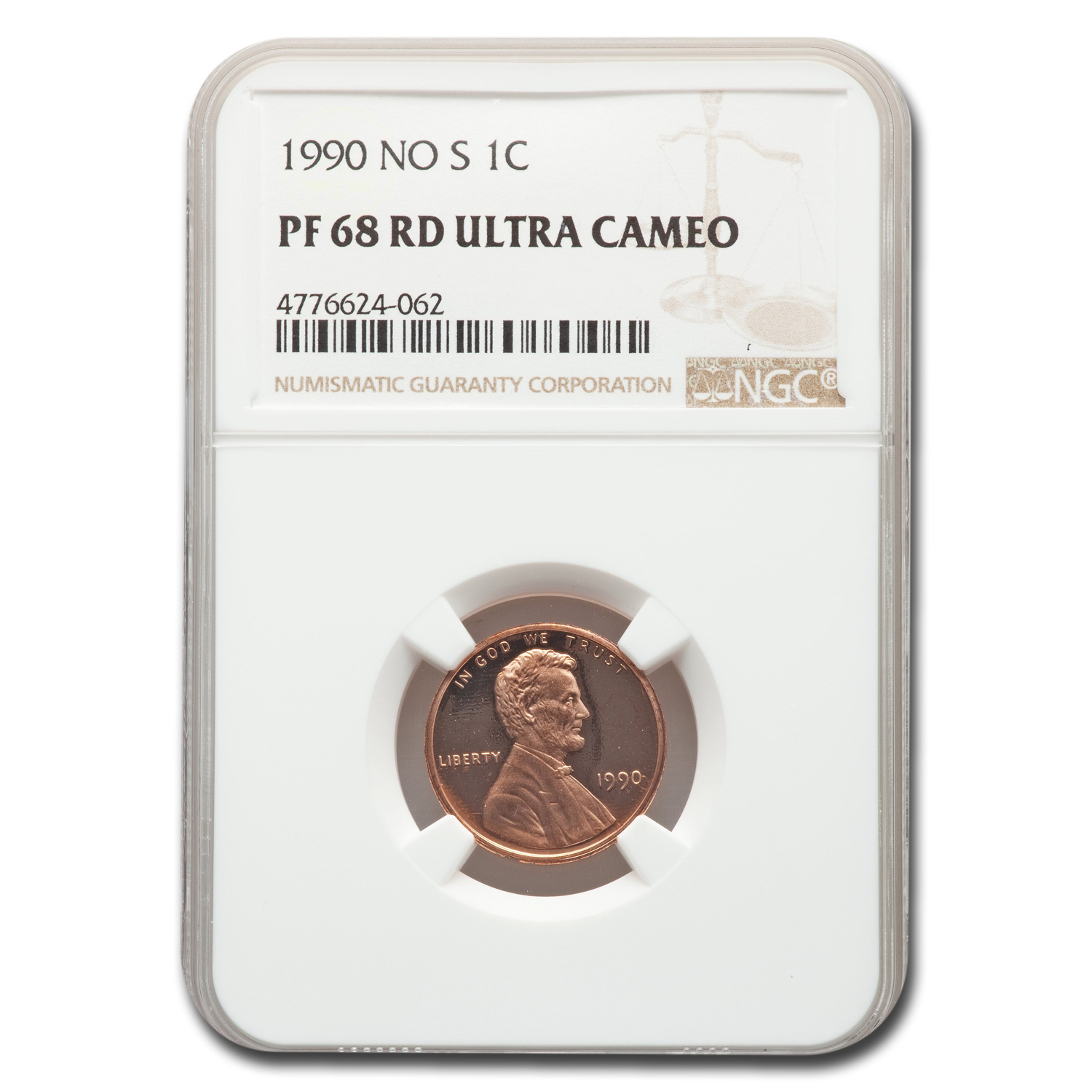 1990 No S Lincoln Cent Proof-68 Ultra Cameo NGC (Red)