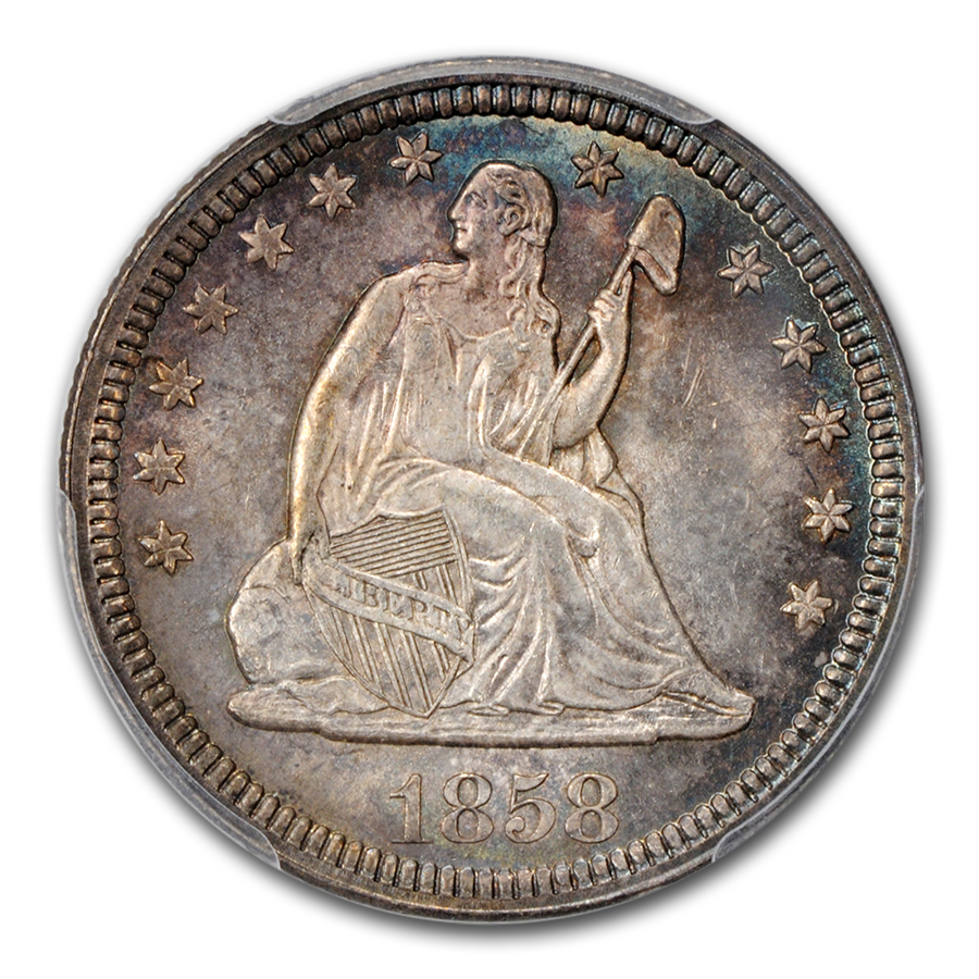 1858 Liberty Seated Quarter MS-65+ PCGS CAC