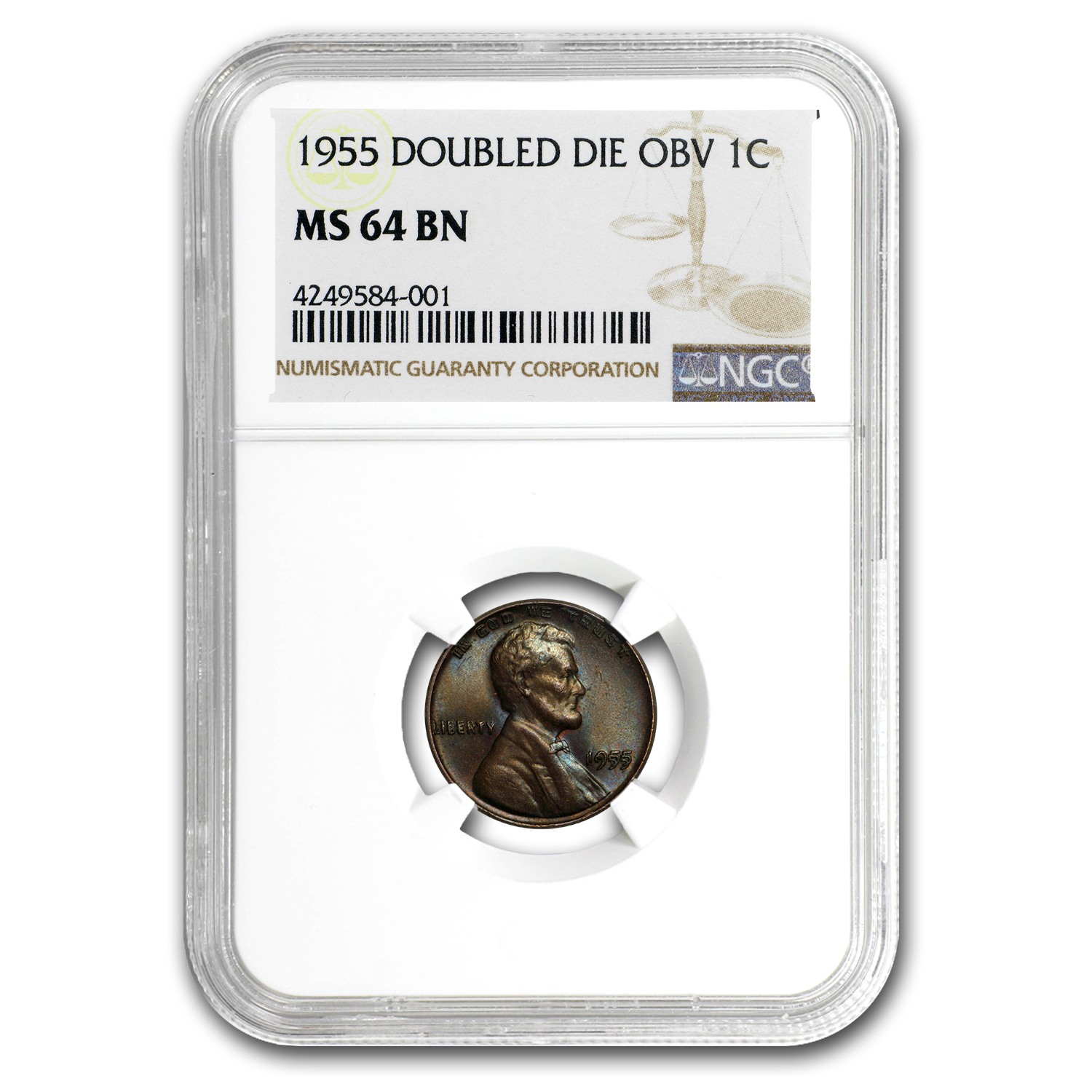 1955 Lincoln Cent Double Die Obverse MS-64* BN NGC