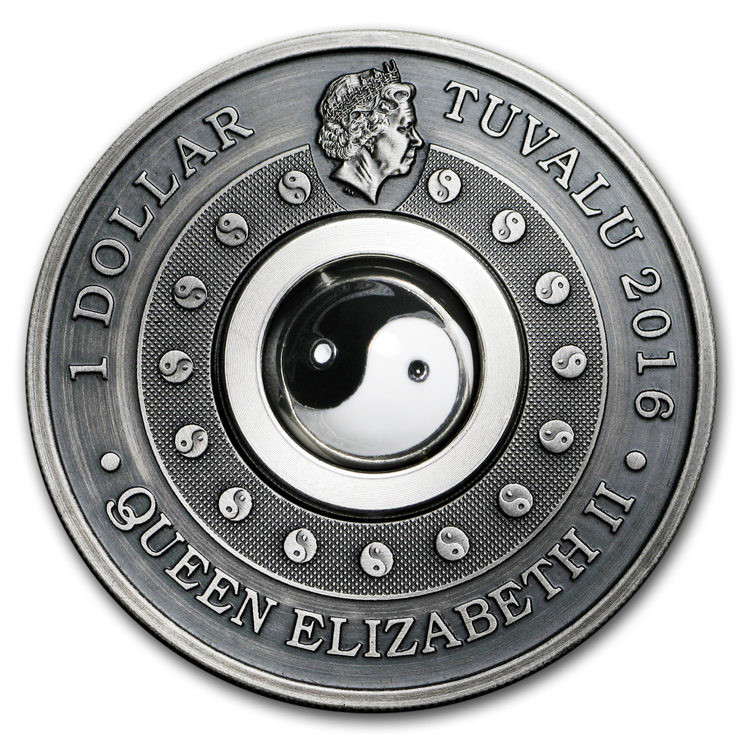2016 Australia 1 oz Proof Silver Yin Yang Antique
