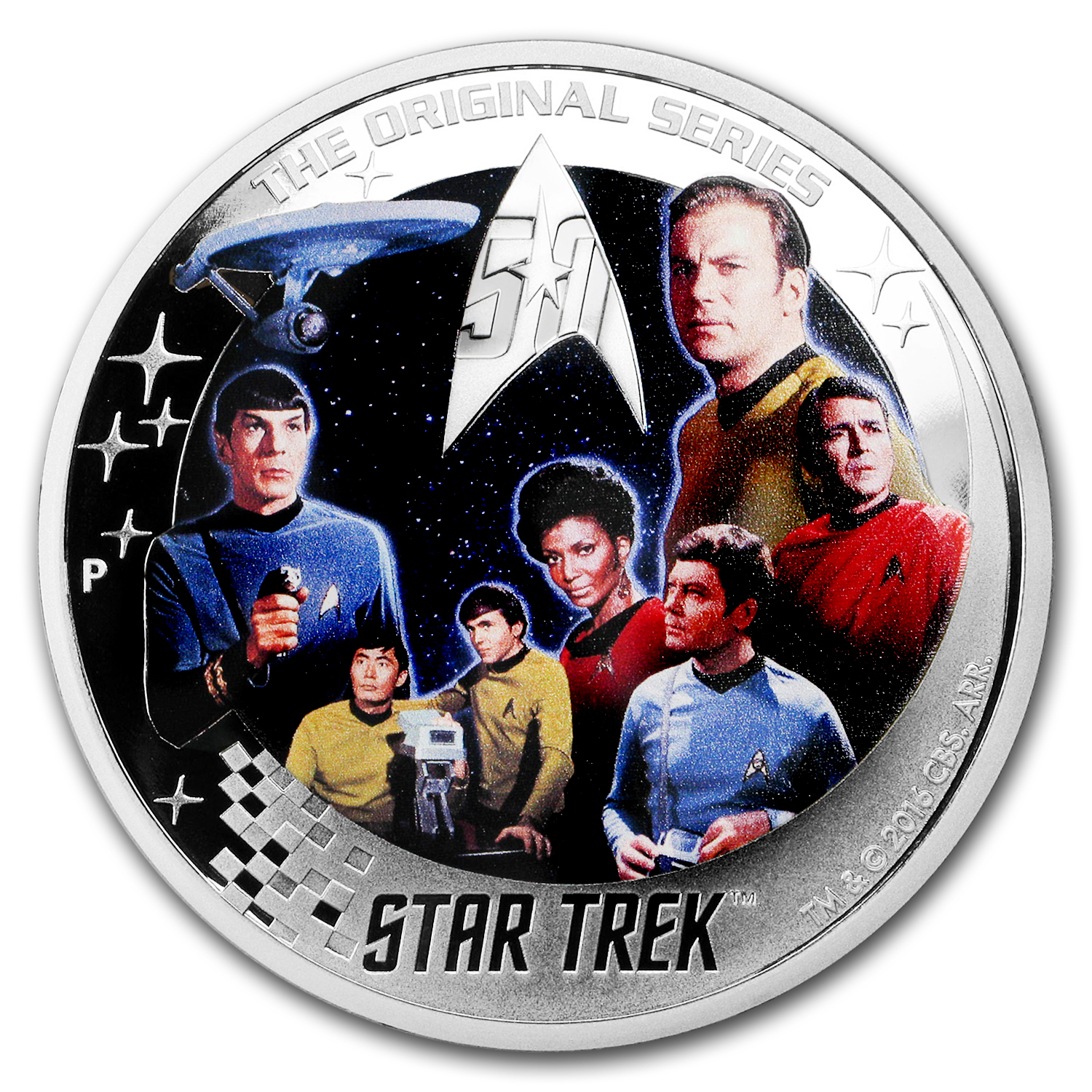 2016 Tuvalu 2 oz Silver Proof Star Trek: Enterprise Crew