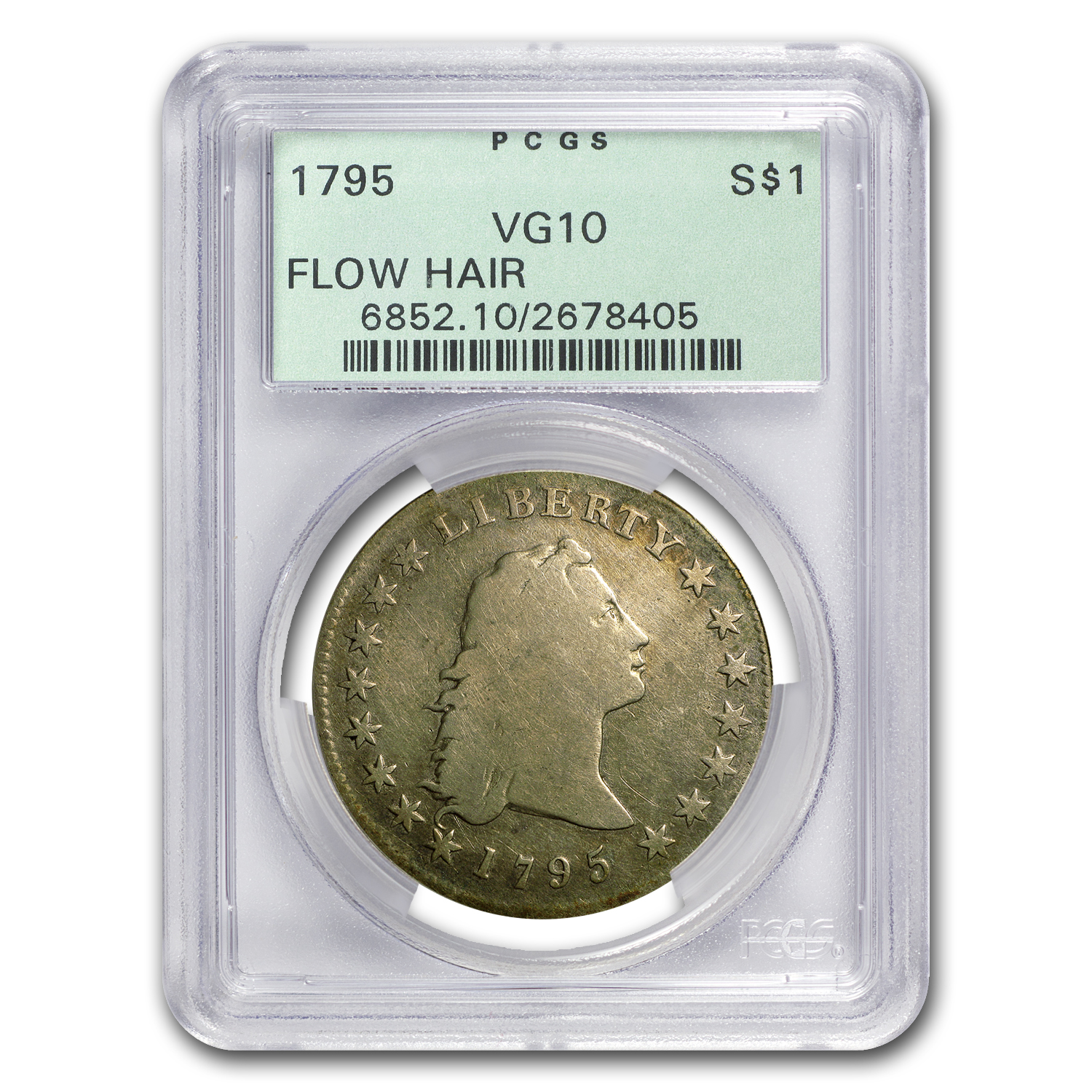 1795 Flowing Hair Dollar VG-10 PCGS Old Green Holder (3 Leaves)