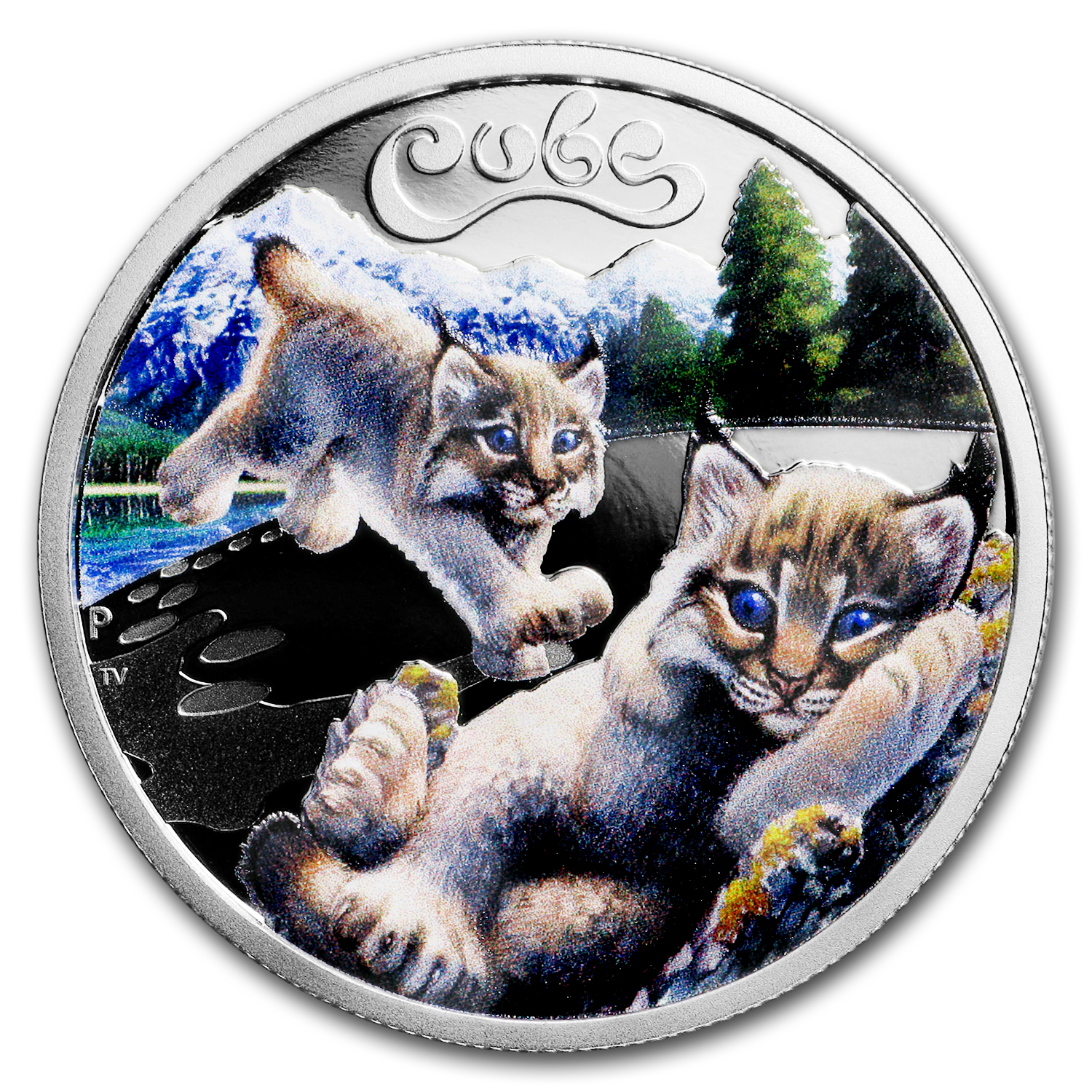 2016 Tuvalu 1/2 oz Silver Proof Snow Lynx Cubs