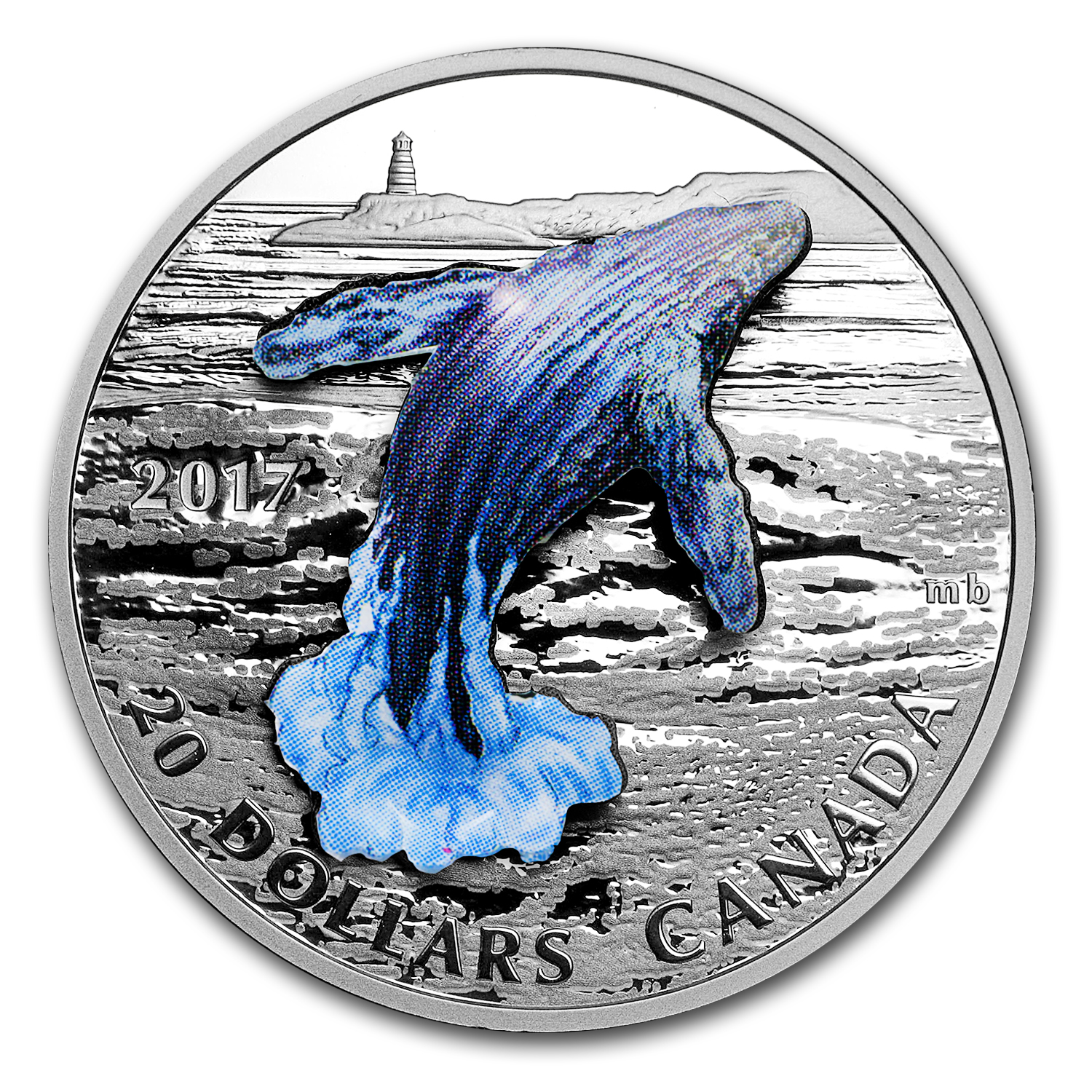 2017 1 oz Silver Proof $20 3-Dimensional Breaching Whale