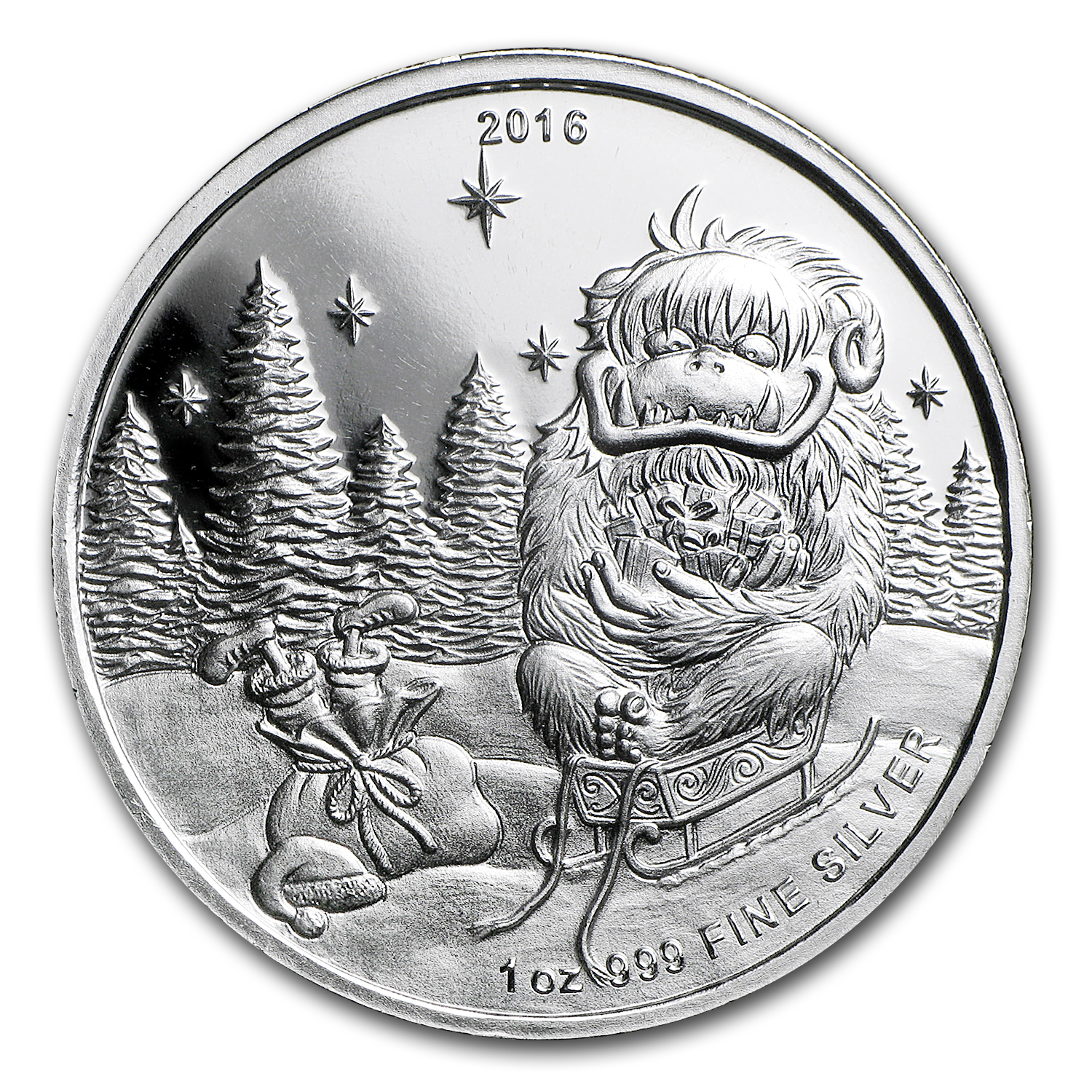 1 oz Silver Round - 2016 Merry Christmas Abominable Snowman