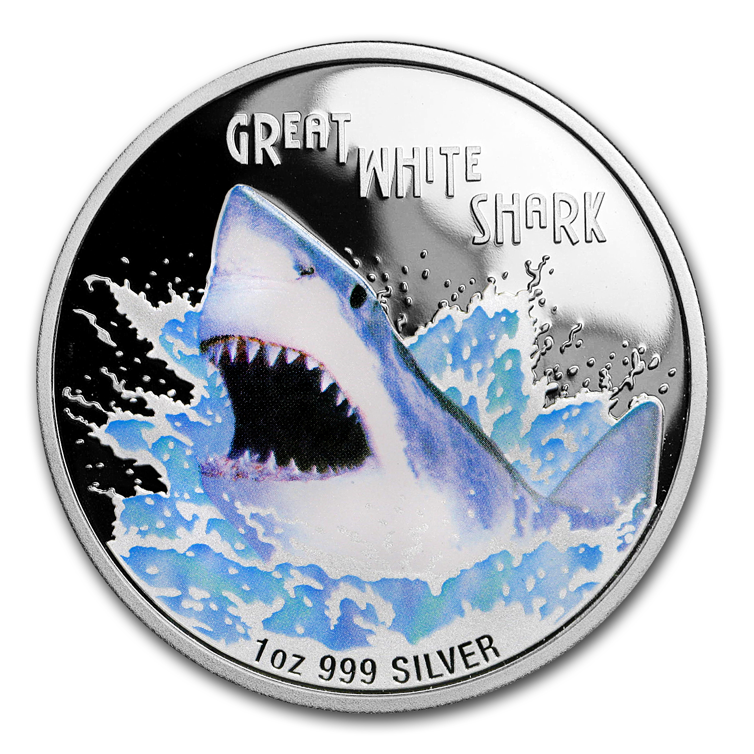 2007 Tuvalu 1 oz Silver Great White Shark Proof (Capsule Only)