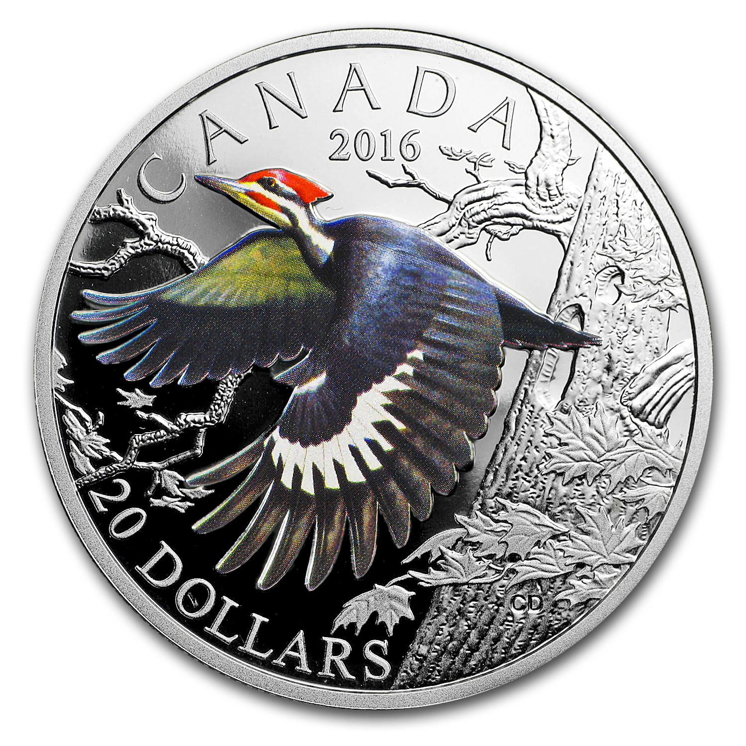 2016 Canada 1 oz Silver Migratory Birds (Pileated Woodpecker)