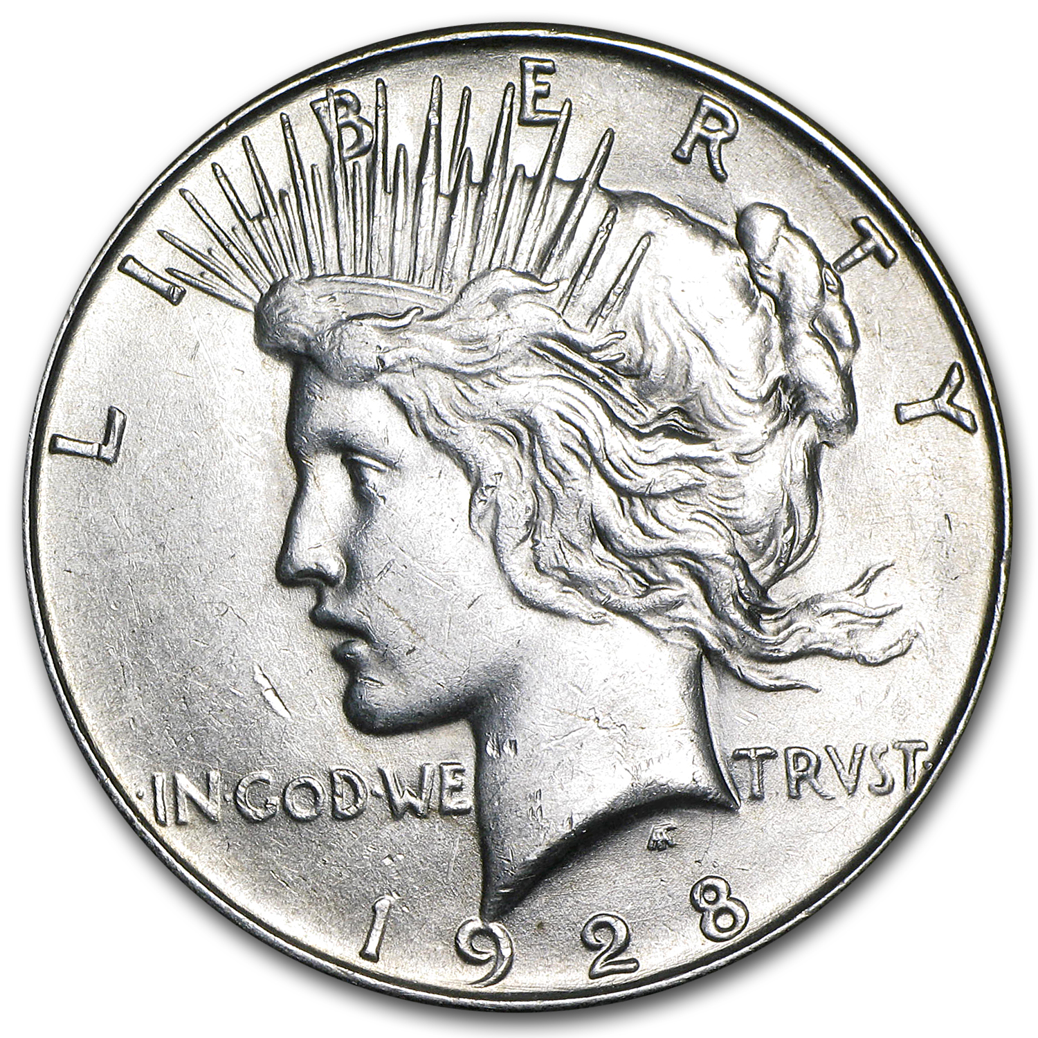 1928-S Peace Dollar - Almost Uncirculated-58