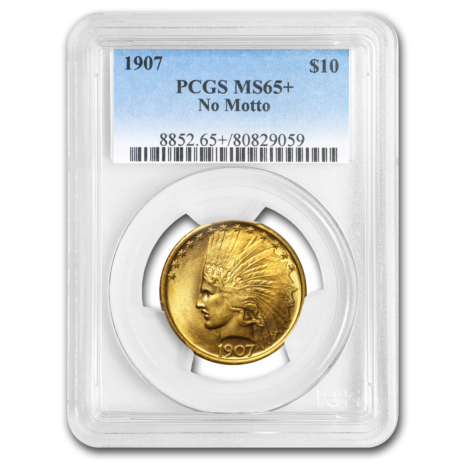1907 $10 Indian Gold Eagle No Motto MS-65+ PCGS