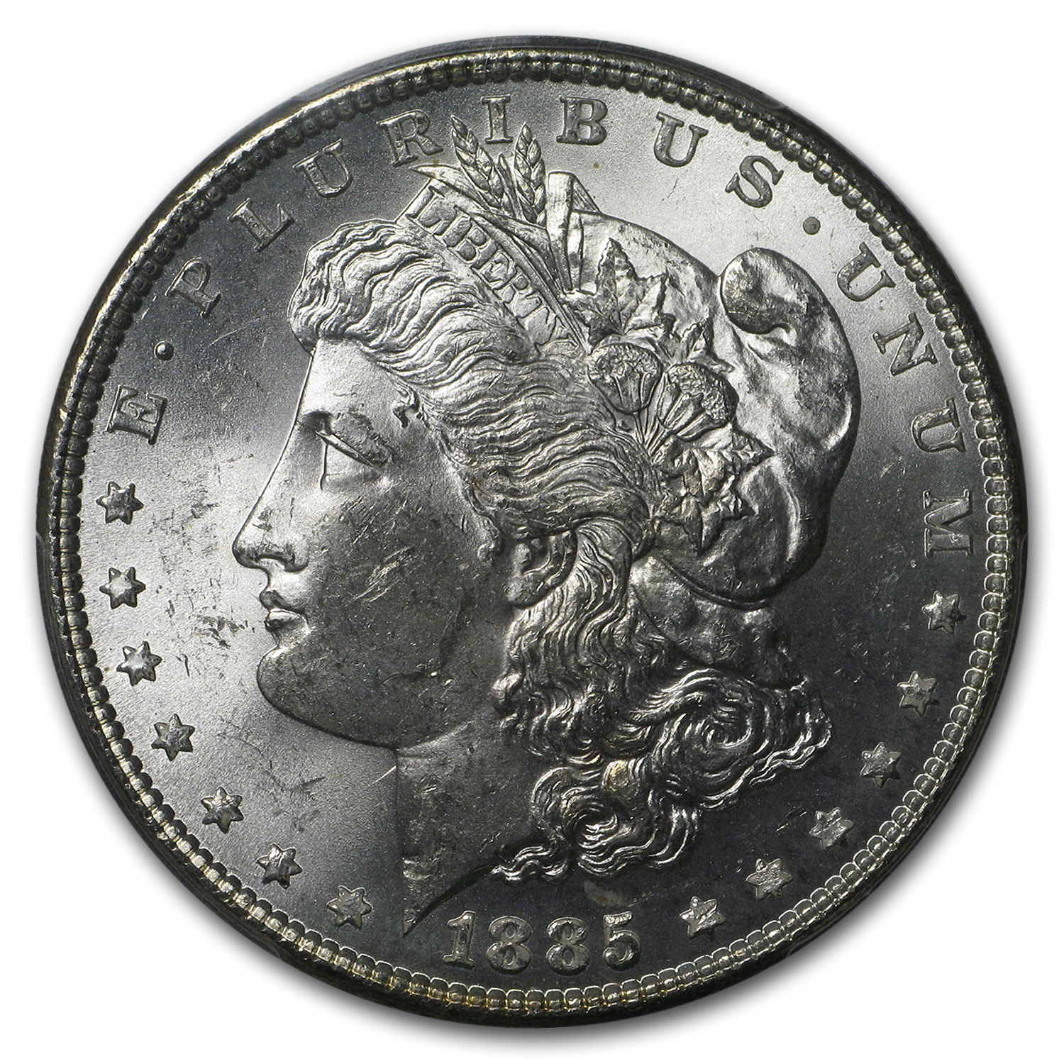 1885 Morgan Dollar MS-63 PCGS (Rev Crescent Rainbow Toning)
