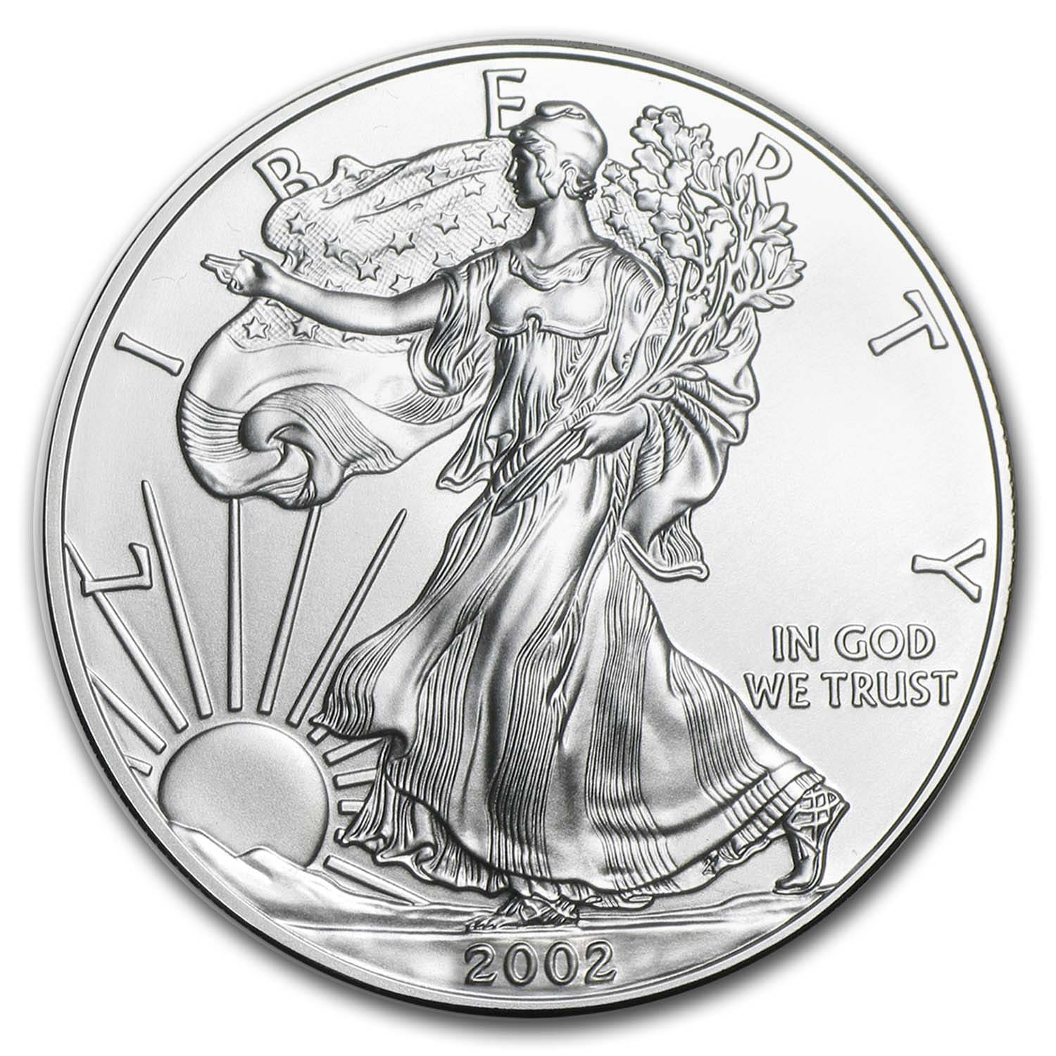 2002 1 Oz Silver American Eagle Bu Silver Eagles West