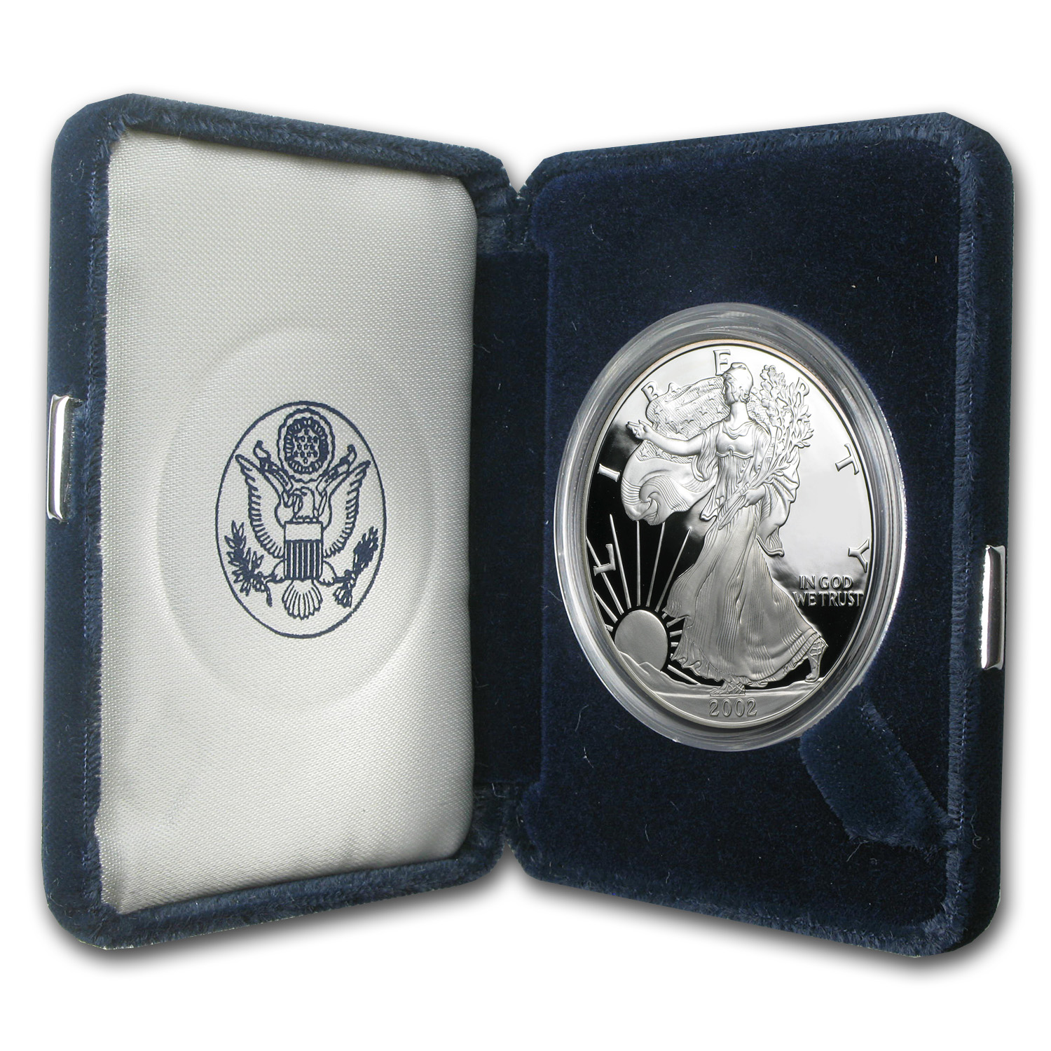 2002 W 1 Oz Proof Silver American Eagle W Box Amp Coa