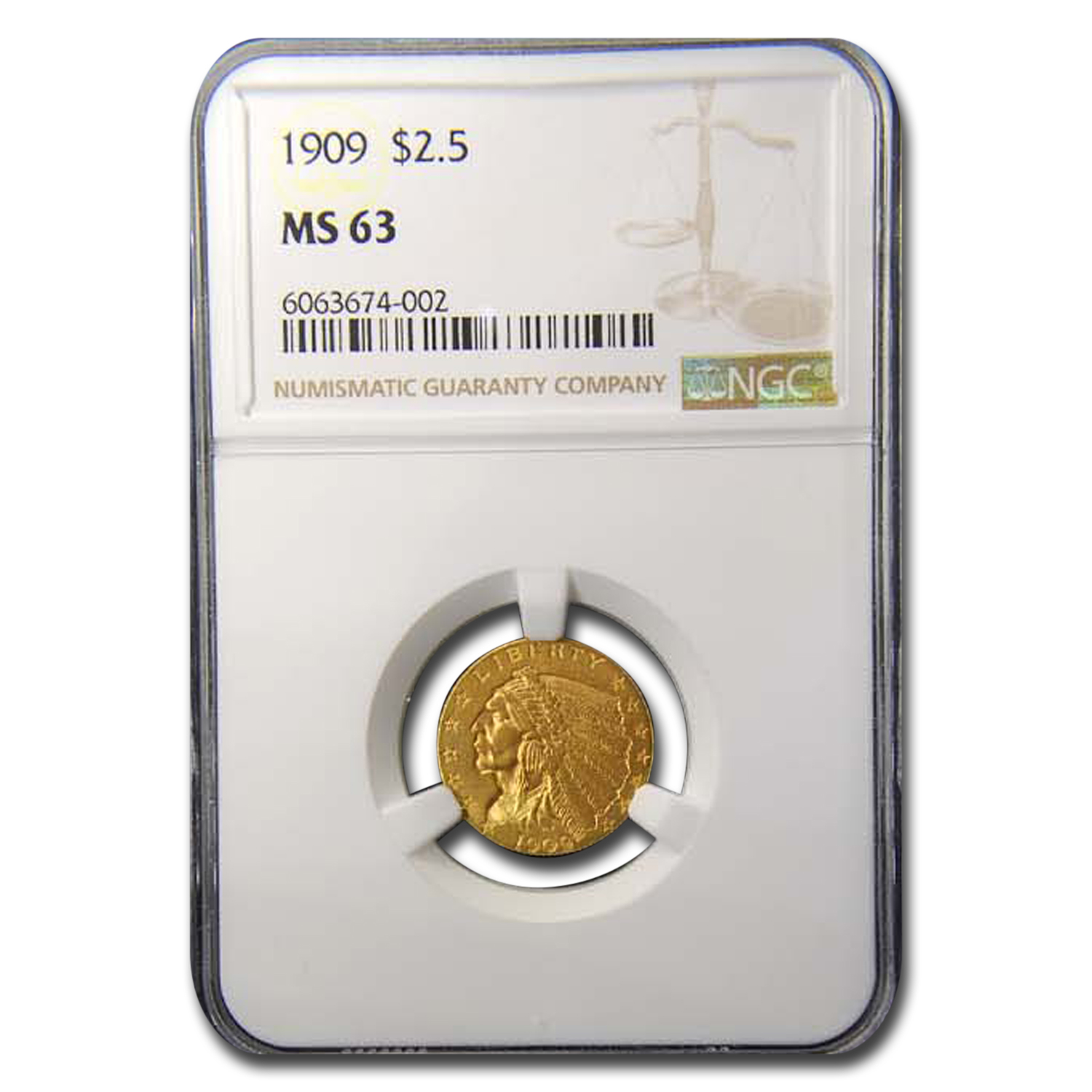 1909 $2.50 Indian Gold Quarter Eagle MS-63 NGC