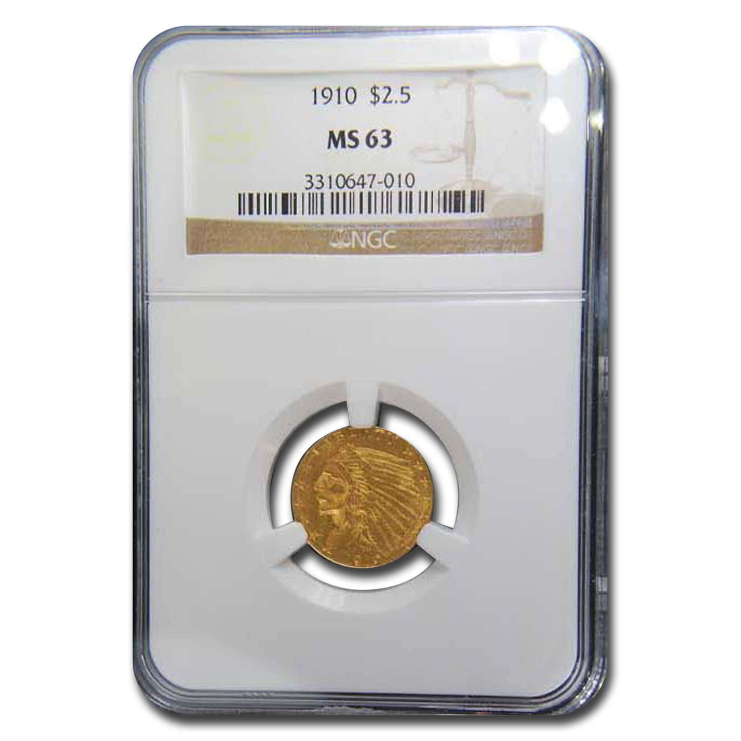 1910 $2.50 Indian Gold Quarter Eagle MS-63 NGC