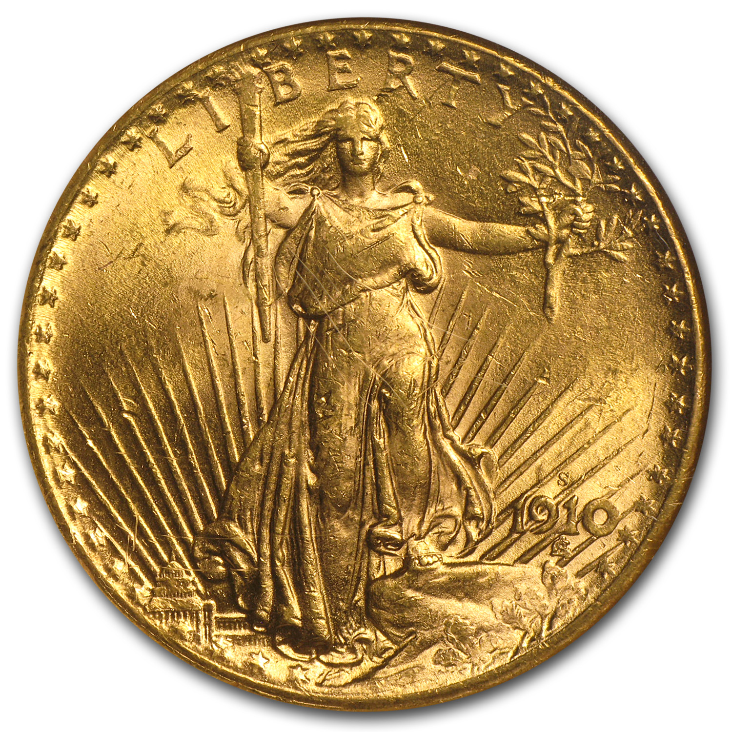 1910-S $20 St. Gaudens Gold Double Eagle MS-63 NGC
