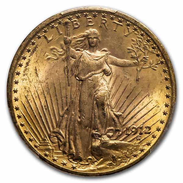 1912 $20 St. Gaudens Gold Double Eagle MS-63 PCGS