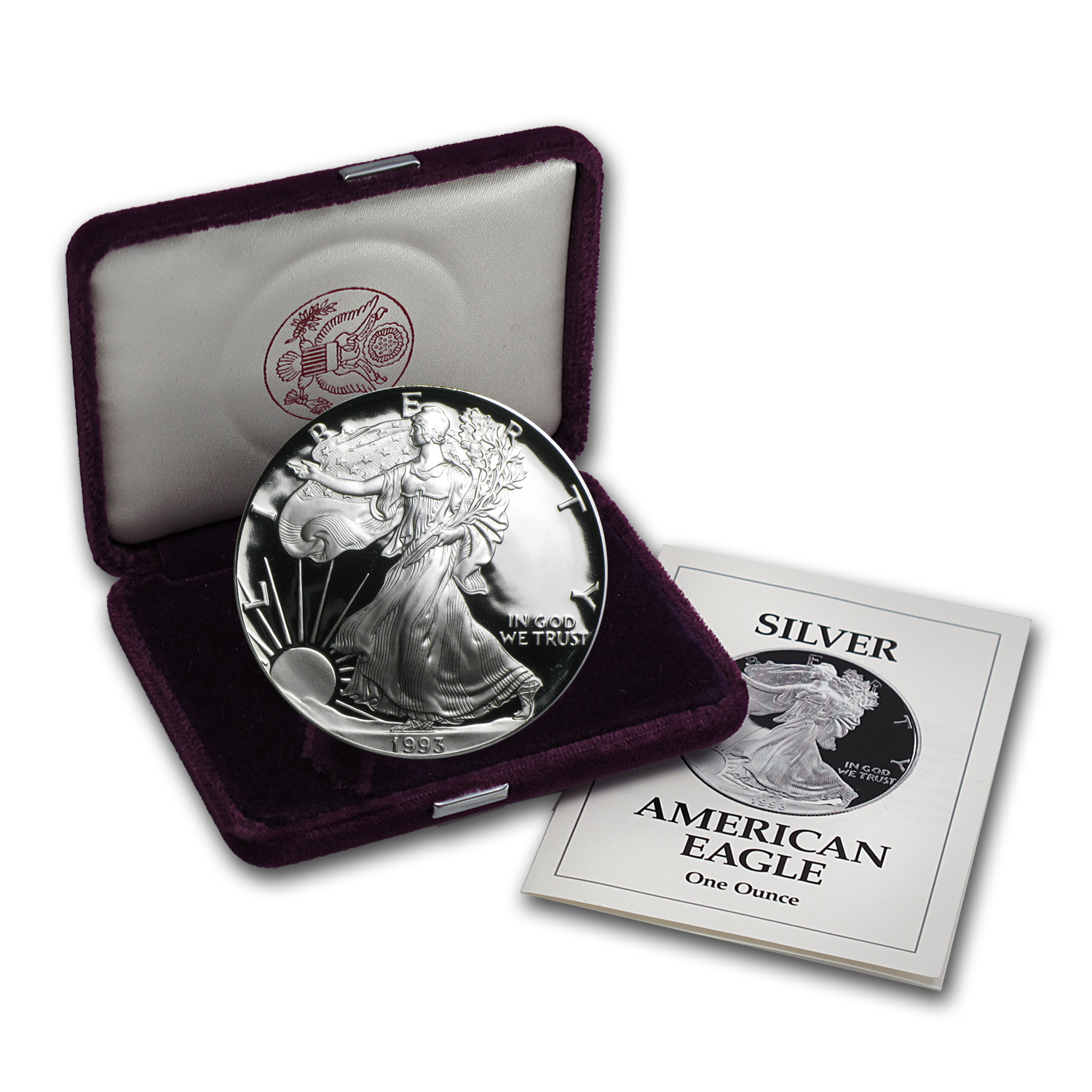 1993-P 1 oz Proof Silver American Eagle (w/Box & CoA)