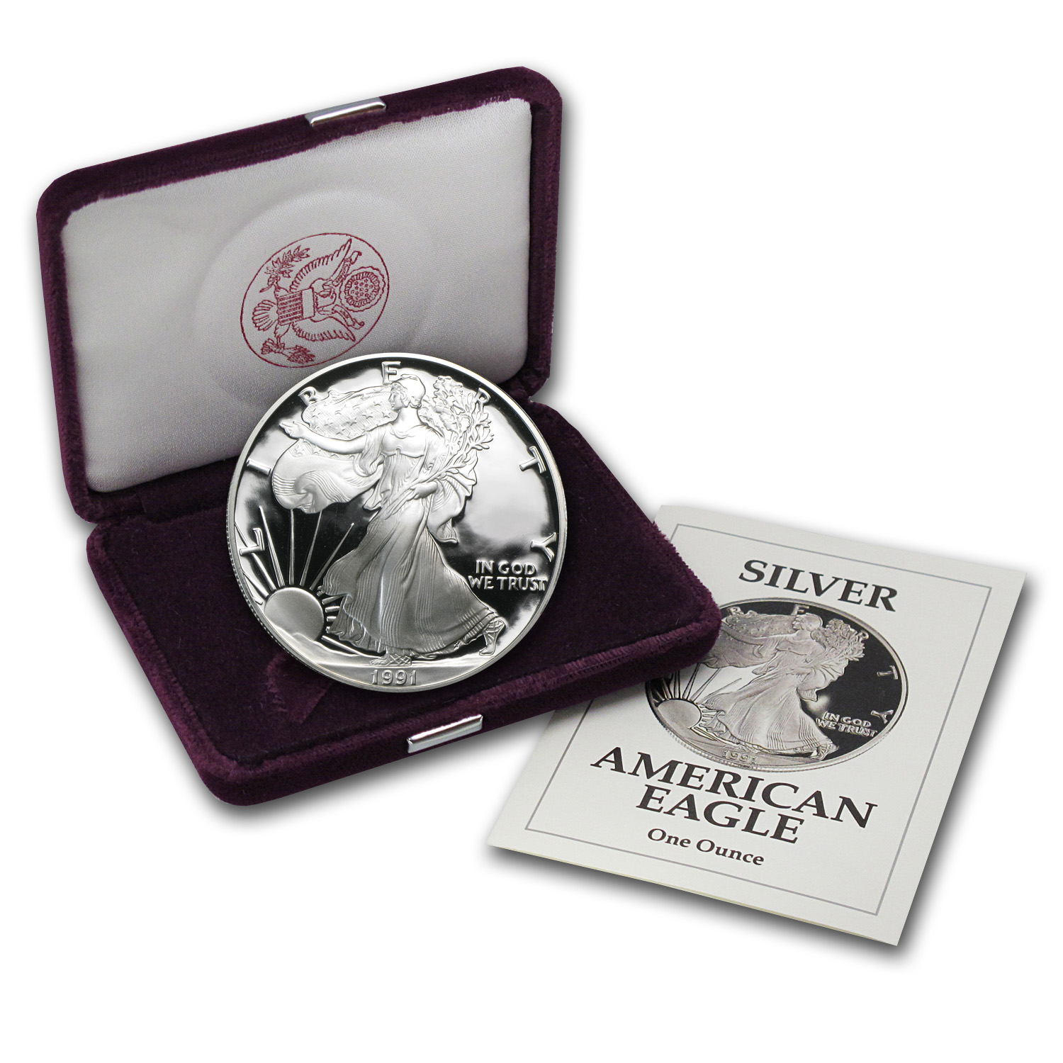 1991-S 1 oz Proof Silver American Eagle (w/Box & COA)