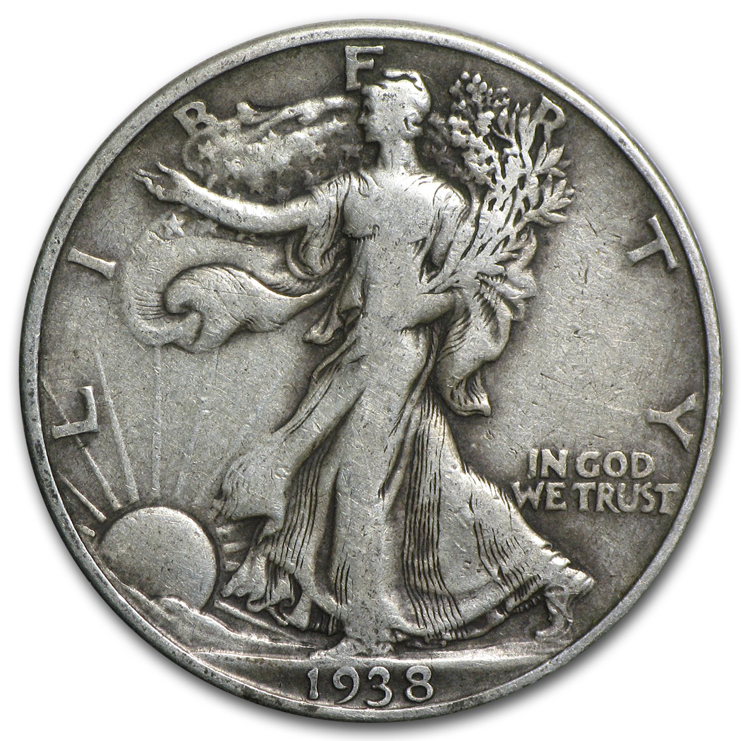 1938-D Walking Liberty Half Dollar VF