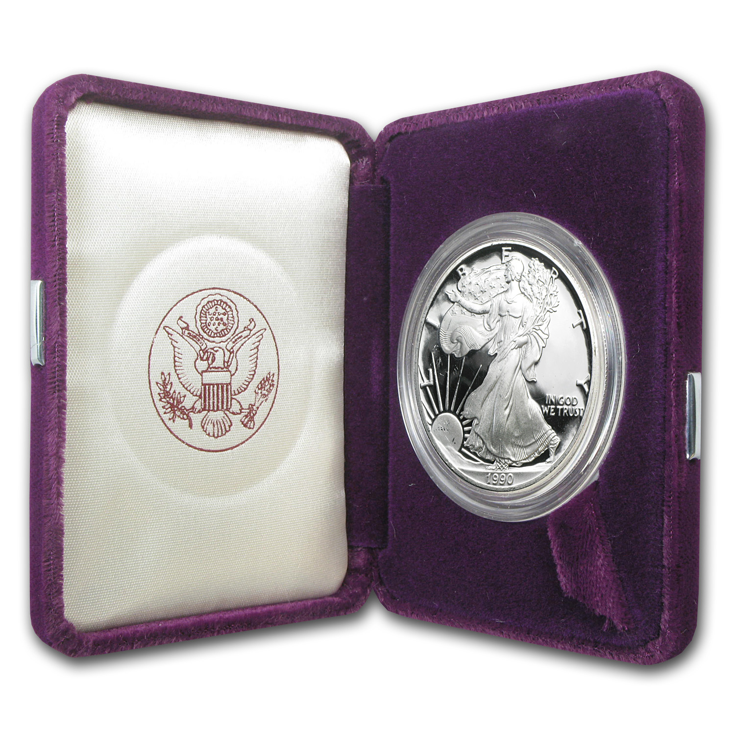 1990-S 1 oz Proof Silver American Eagle (w/Box & CoA)