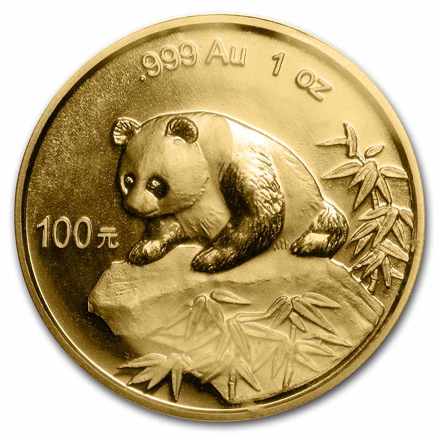1999 China 1 oz Gold Panda Large Date/No Serif BU (Sealed)