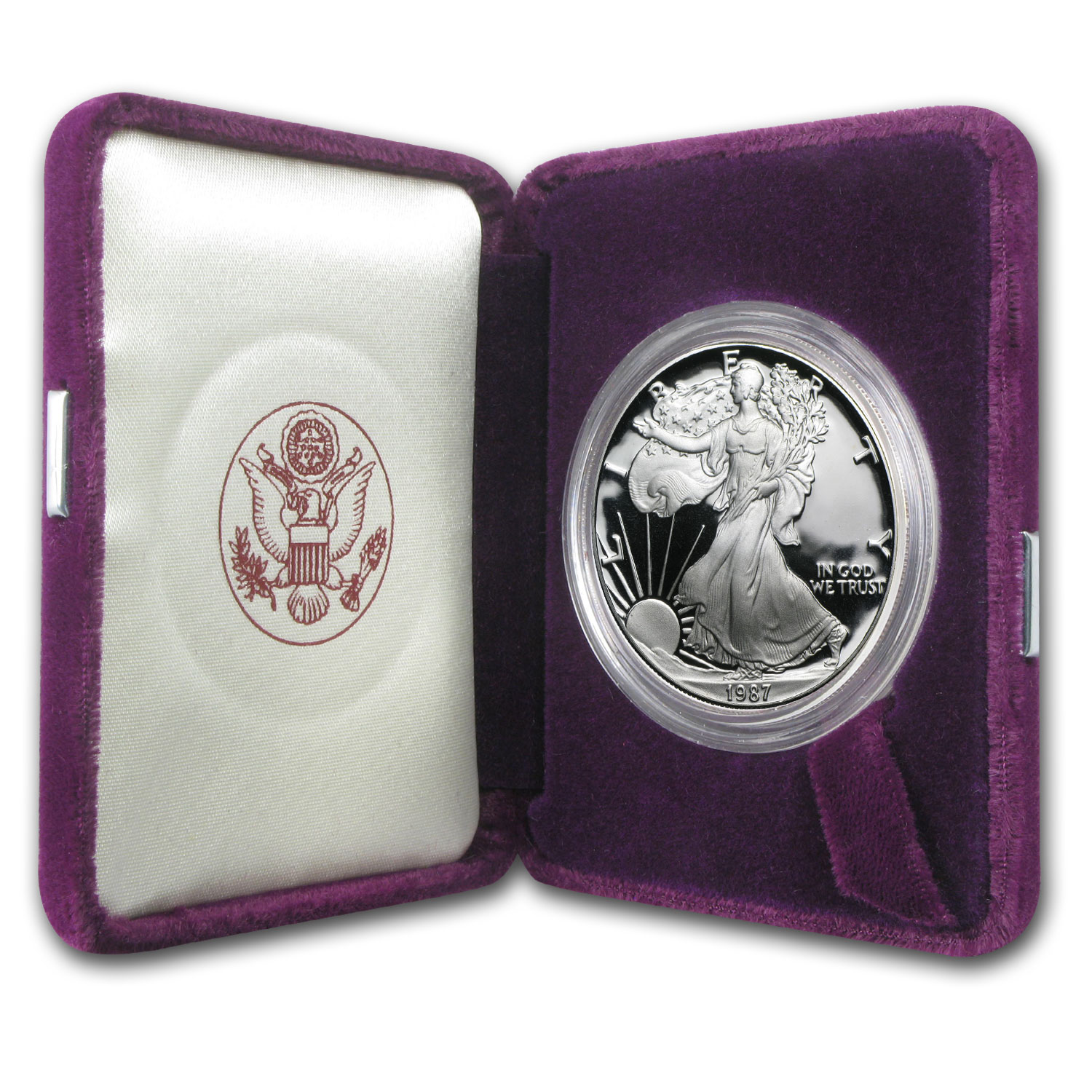 1987-S 1 oz Proof Silver American Eagle (w/Box & COA)