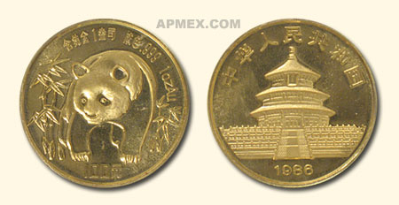 1986 China 1 oz Gold Panda BU (Not Sealed)