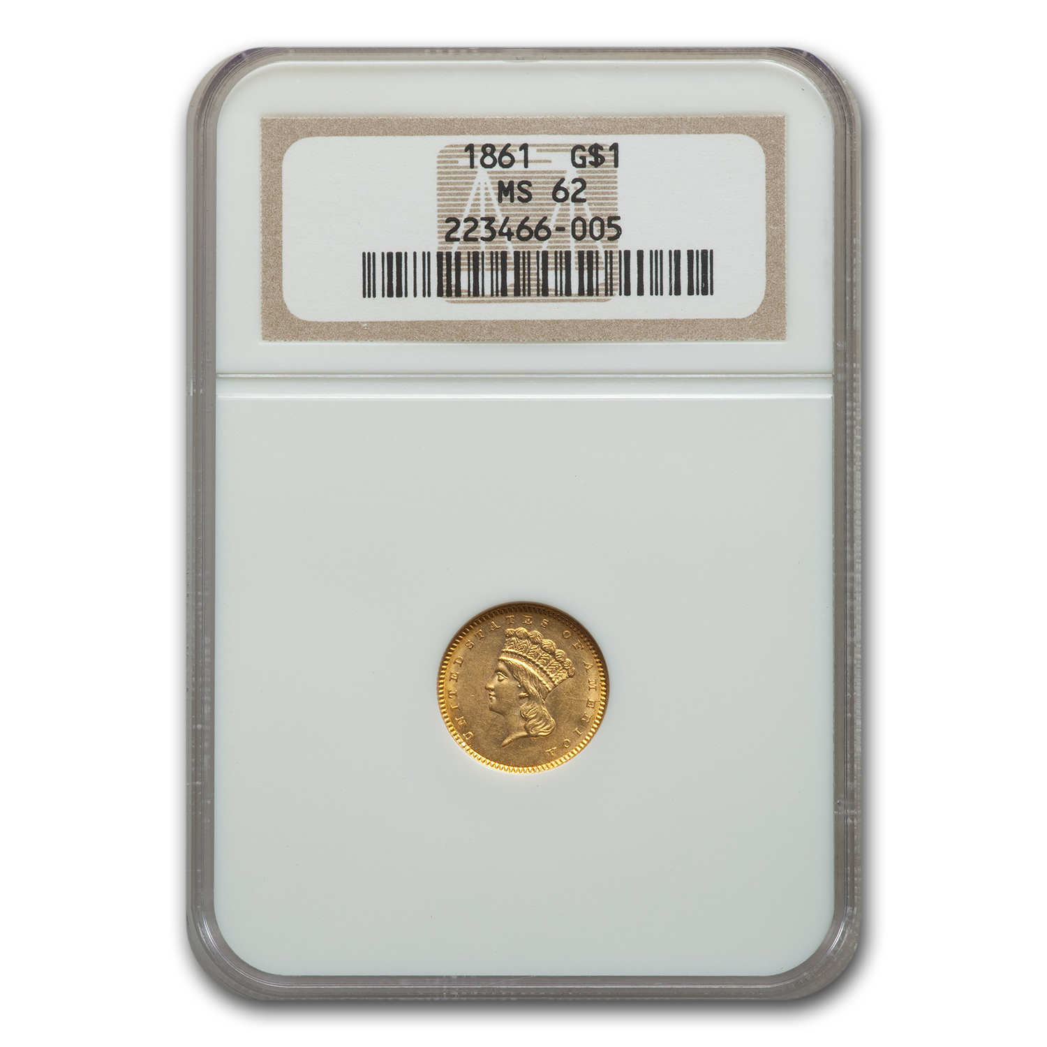 1861 $1 Indian Head Gold MS-62 NGC
