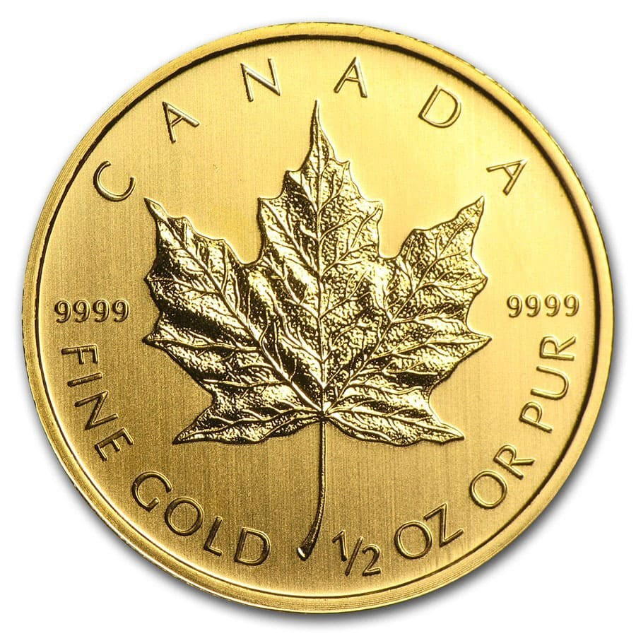 Canada 1 2 Oz Gold Maple Leaf Random Year 1 2 Oz Gold