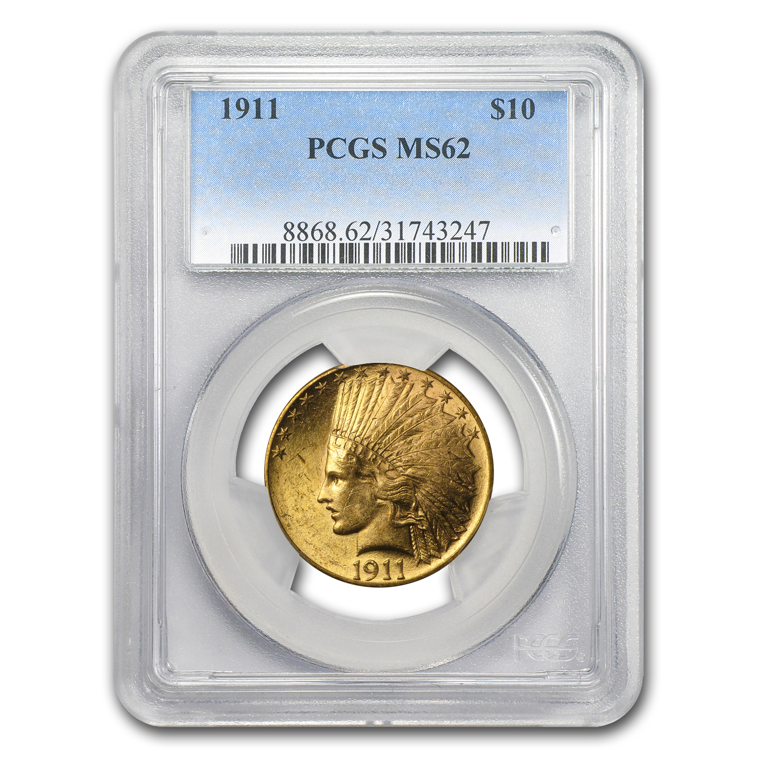 1911 $10 Indian Gold Eagle MS-62 PCGS
