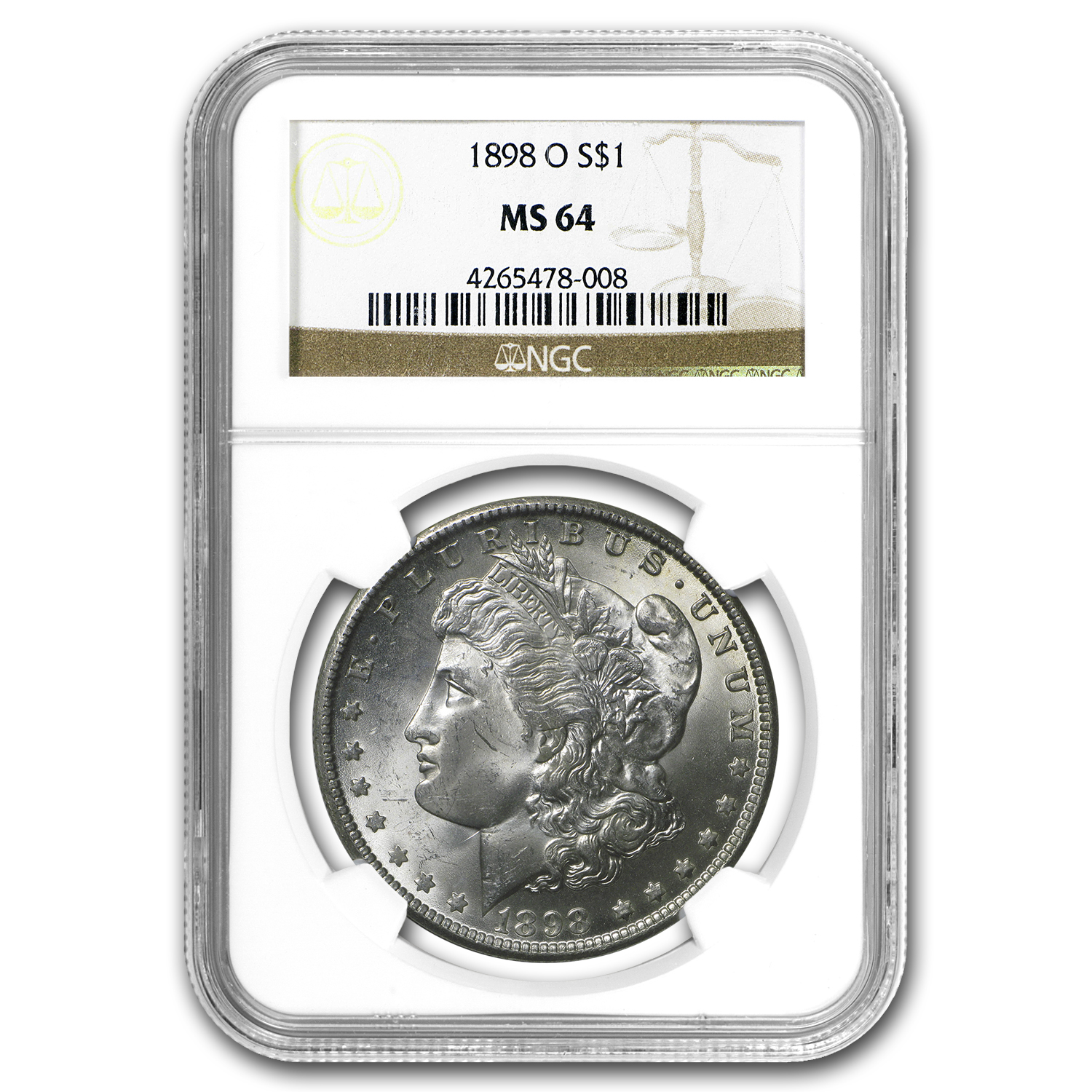 1898-O Morgan Dollar - MS-64 NGC