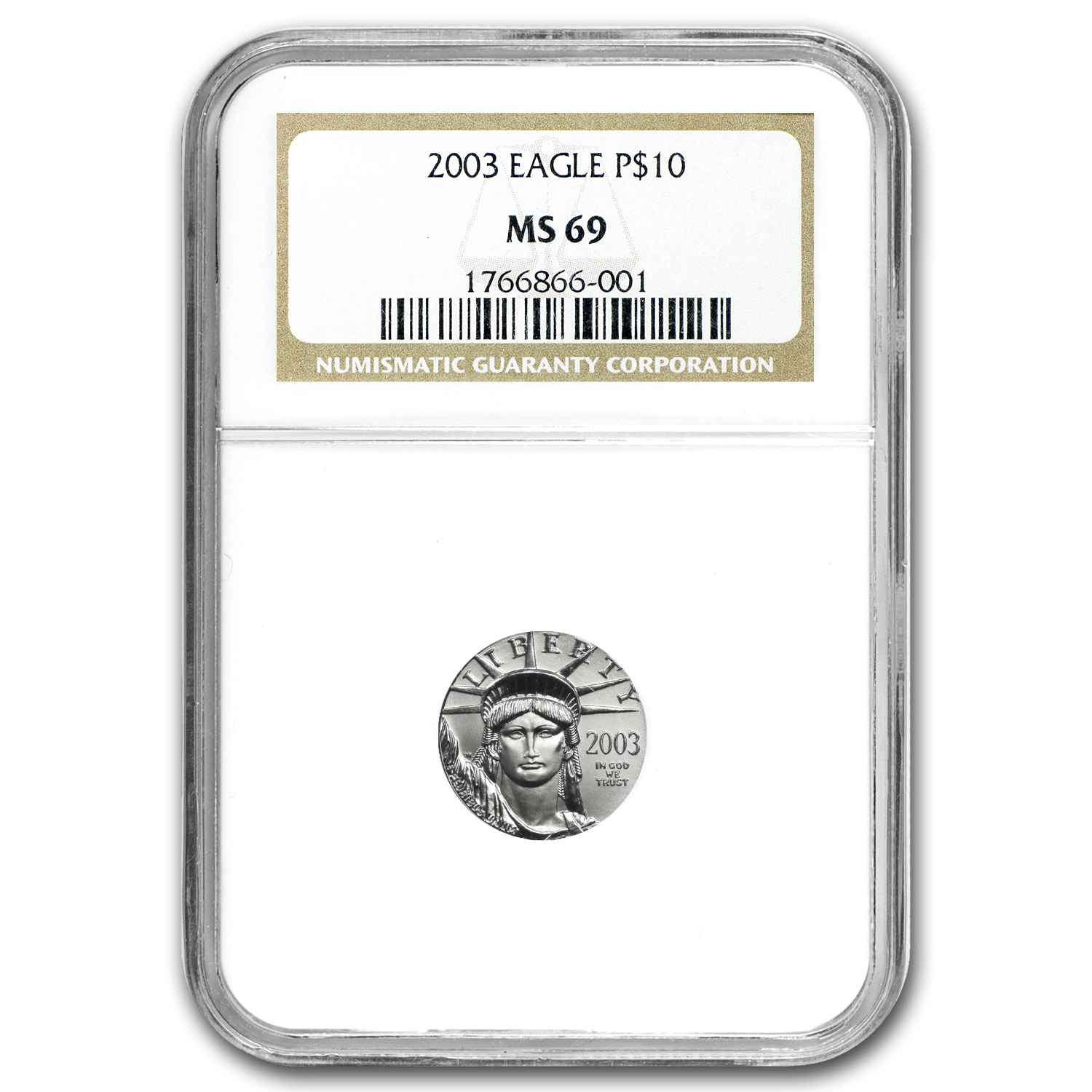 2003 1/10 oz Platinum American Eagle MS-69 NGC