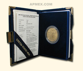 1989-P 1/2 oz Proof Gold American Eagle (w/Box & CoA)