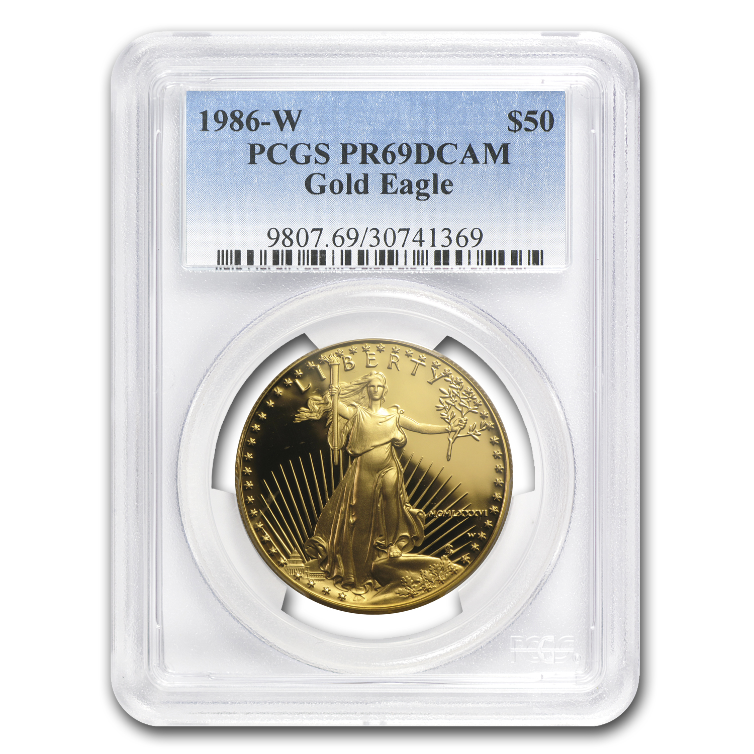 1986-W 1 oz Proof Gold American Eagle PR-69 PCGS