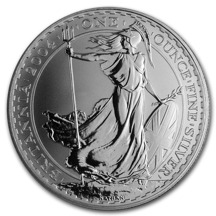 2004 Great Britain 1 Oz Silver Britannia Bu Silver