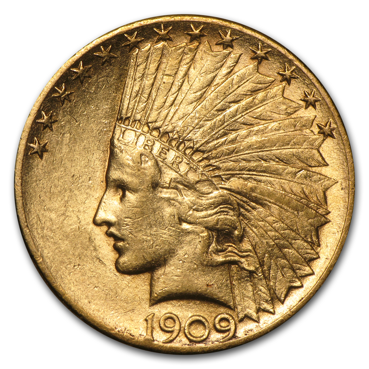 1909-S $10 Indian Gold Eagle Almost Uncirculated