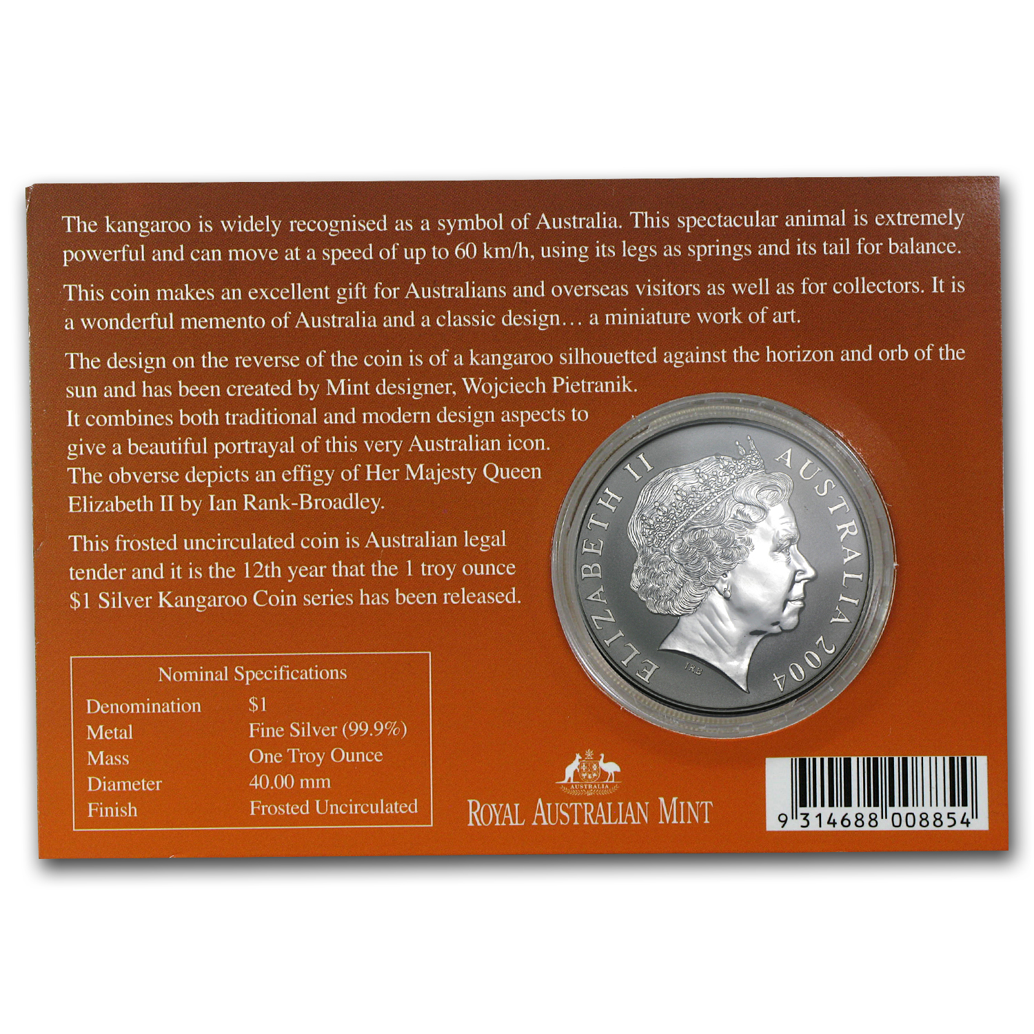 2004 1 oz Australian Silver Kangaroo (In Display Card)