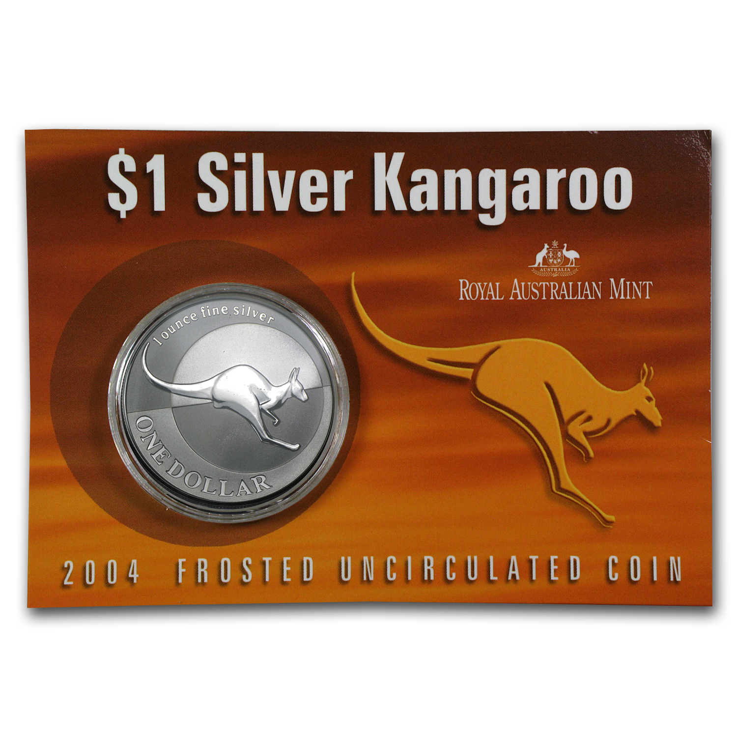 2004 Australia 1 oz Silver Kangaroo (In Display Card)